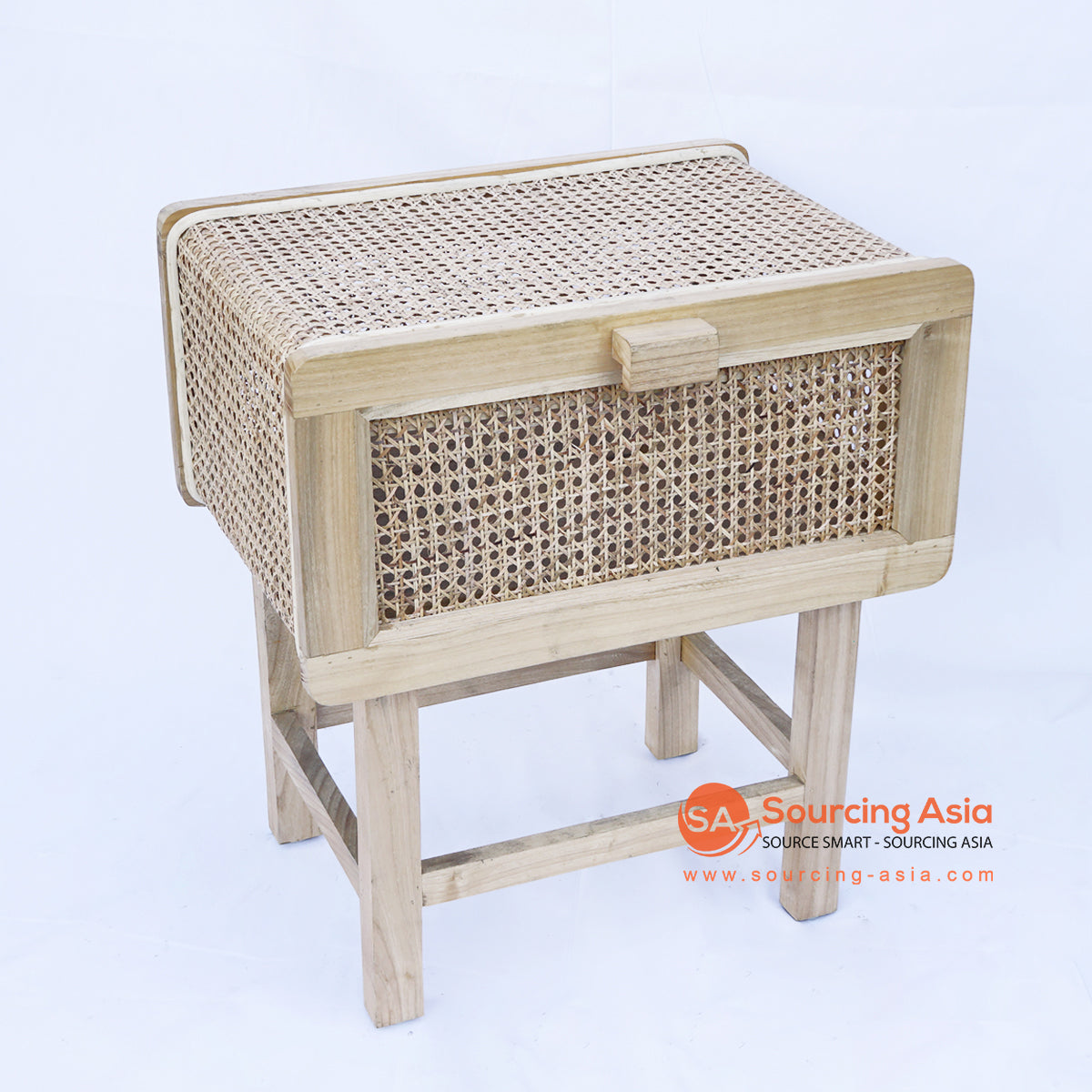 BNTC006-6 RATTAN BEDSIDE TABLE WITH FLIP DOWN DOOR