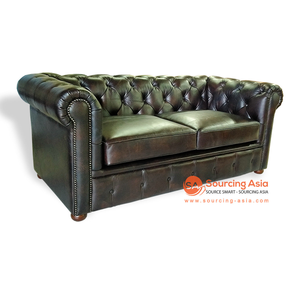 CCM028 CHESTERFIELD LEATHER SOFA