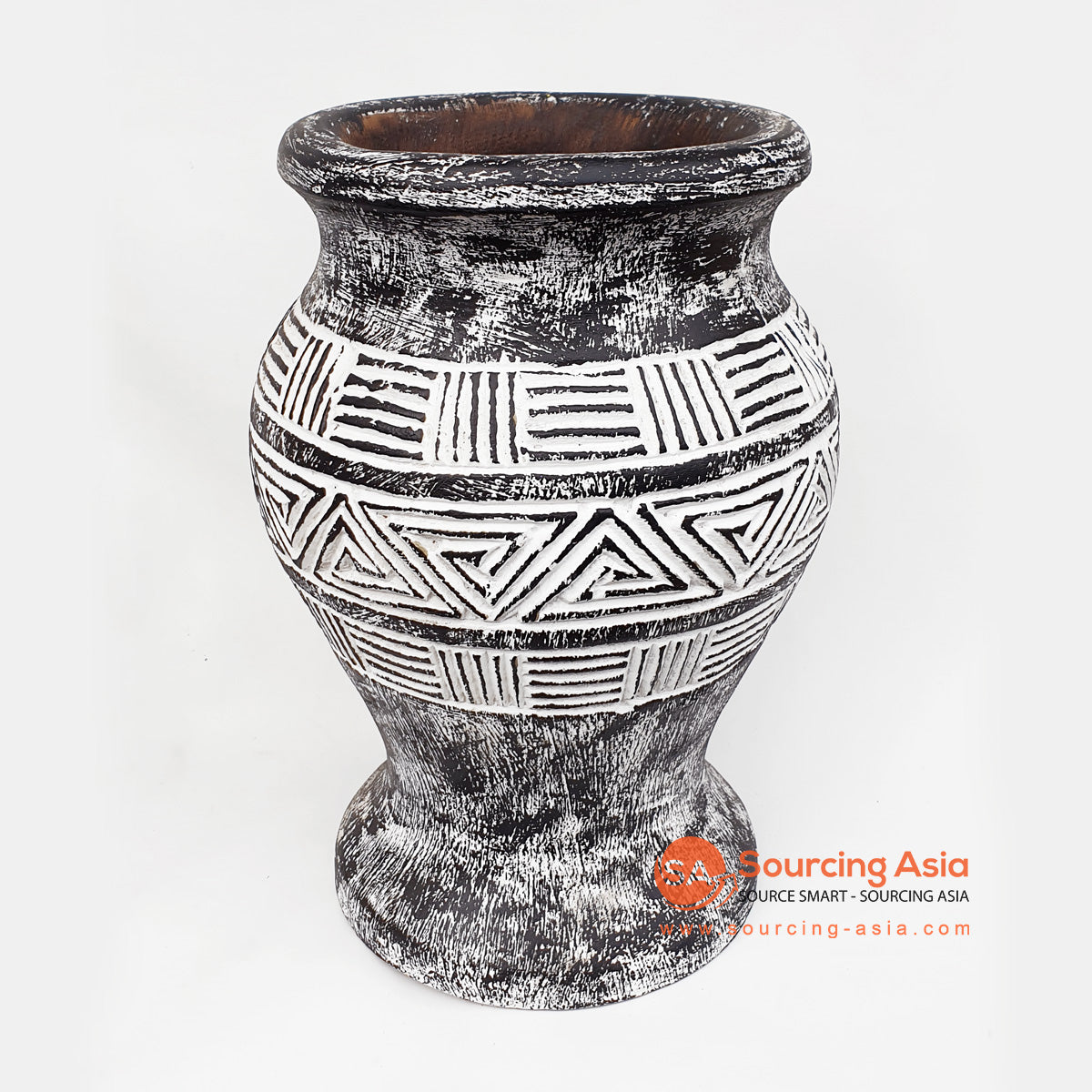 DGPC025 BLACK WASHED TRIBAL POT