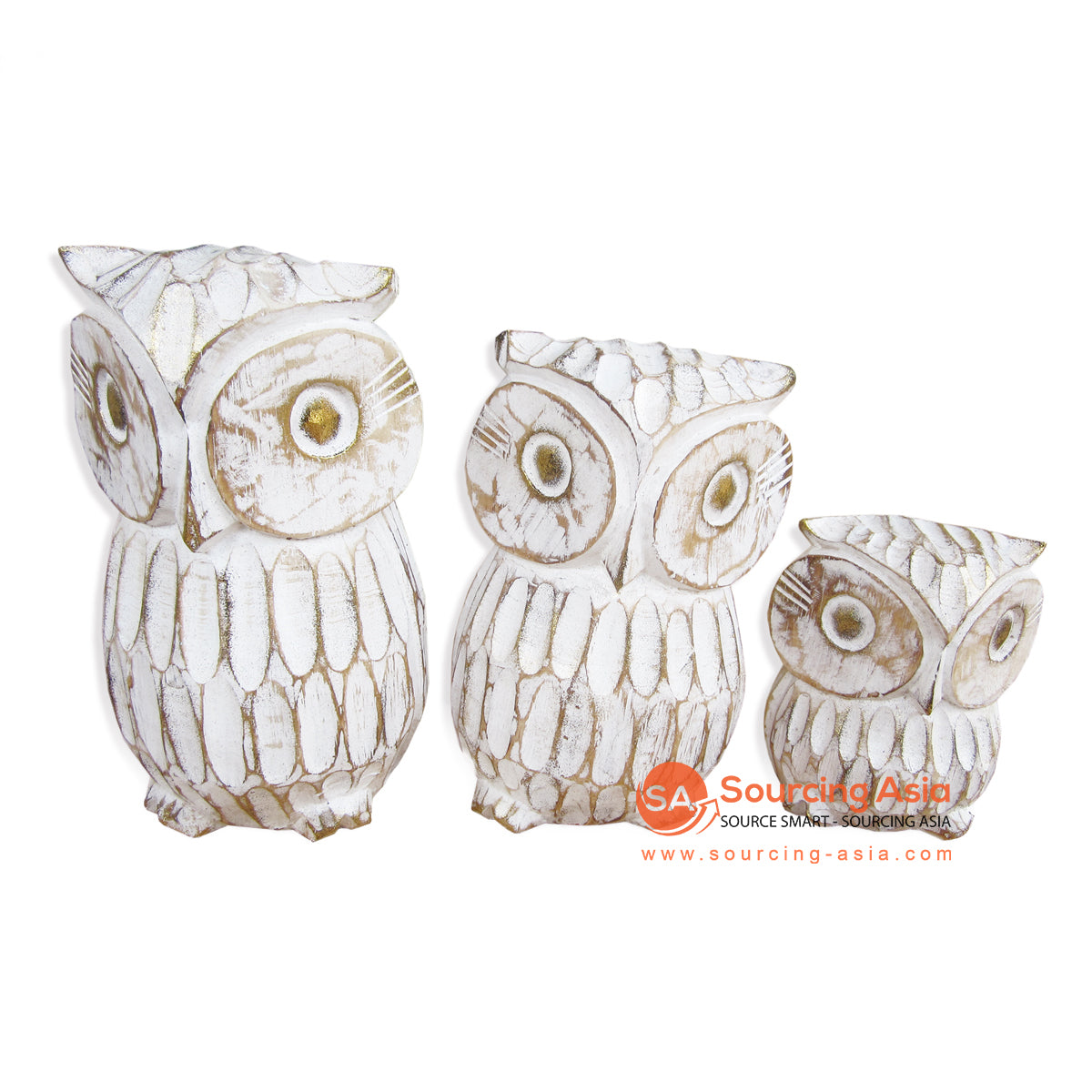 DPA002WW SET OF 3 WOODEN OWL DECORATION