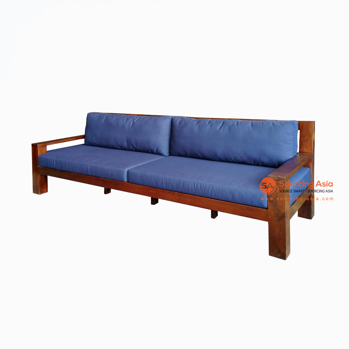 ECL048-240SP BROWN RECYCLED TEAK WOOD TWO SEATS SOFA WITH CUSHION