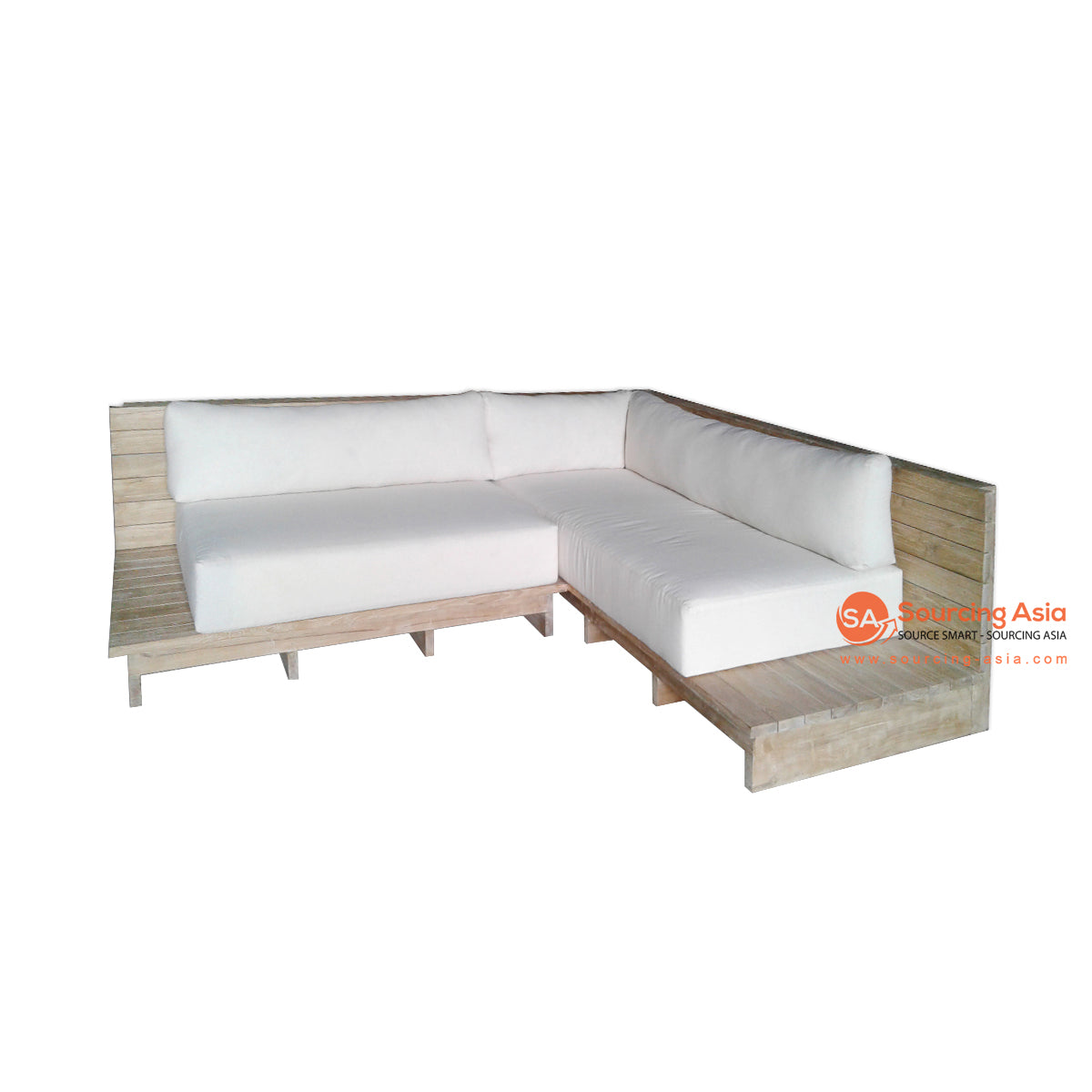 ECL049 NATURAL RECYCLED TEAK WOOD OUTDOOR MALDIVES CORNER LOUNGER SOFA