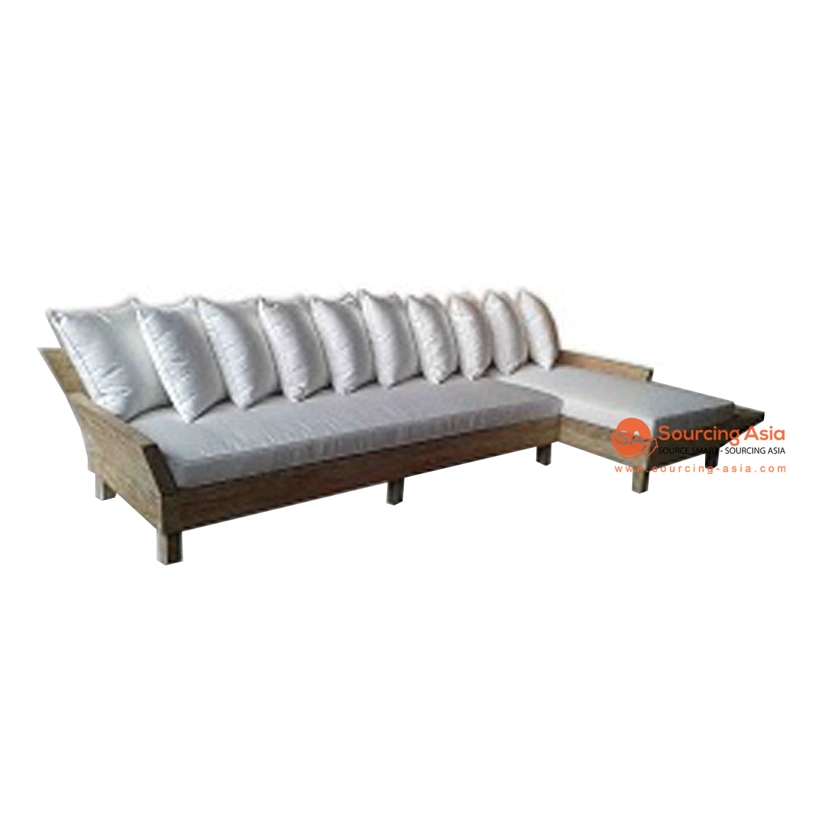 ECL078 NATURAL RECYCLED TEAK WOOD LOW CORNER LOUNGER SOFA WITHOUT CUSHION