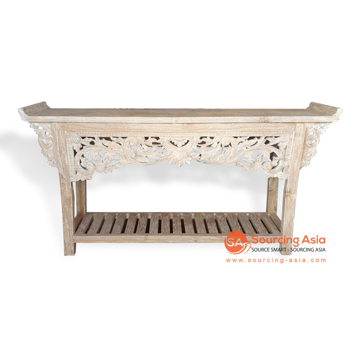 EVA070-1 CARVED RECYCLED WOOD CONSOLE