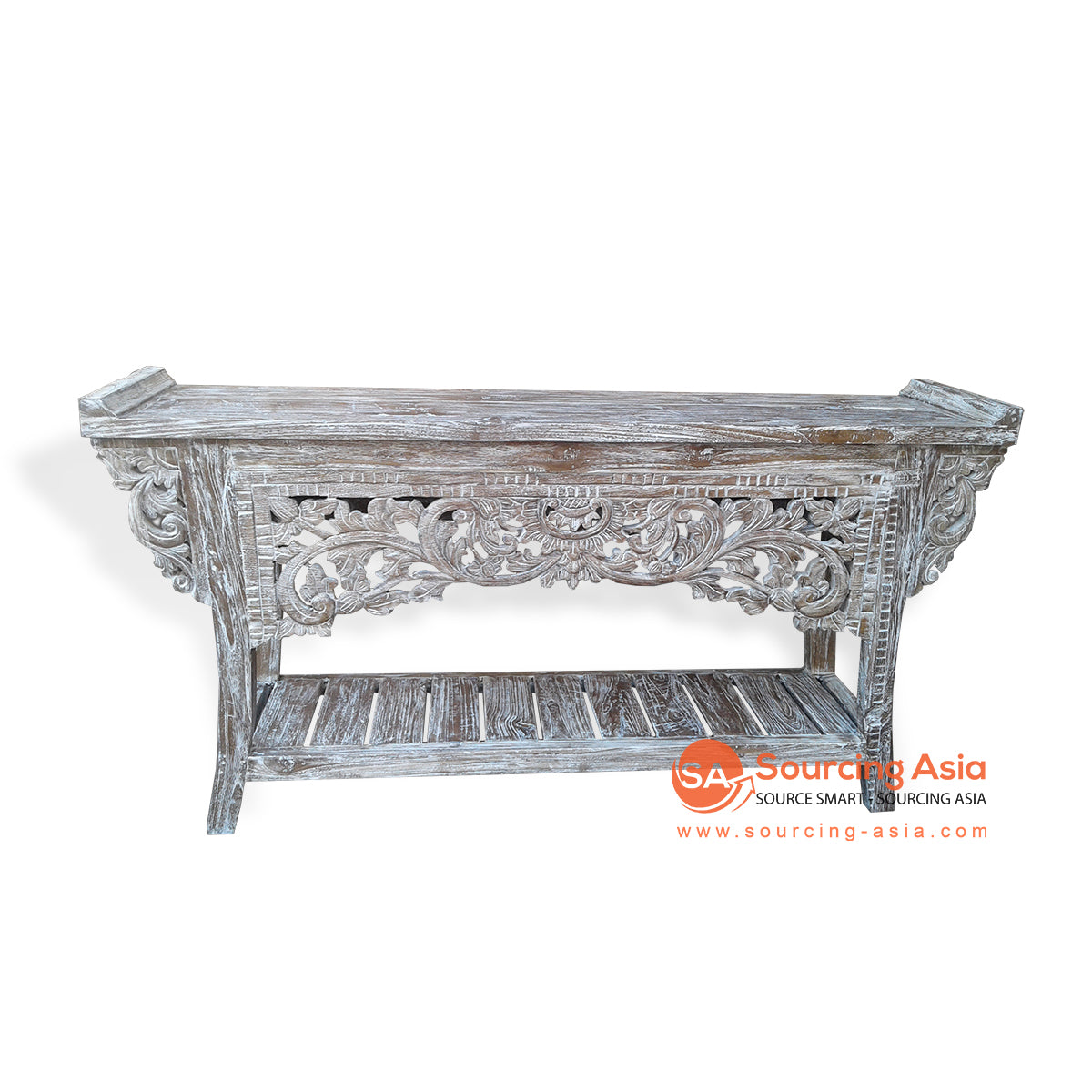 EVA070 RECYCLED WOOD CARVED CONSOLE