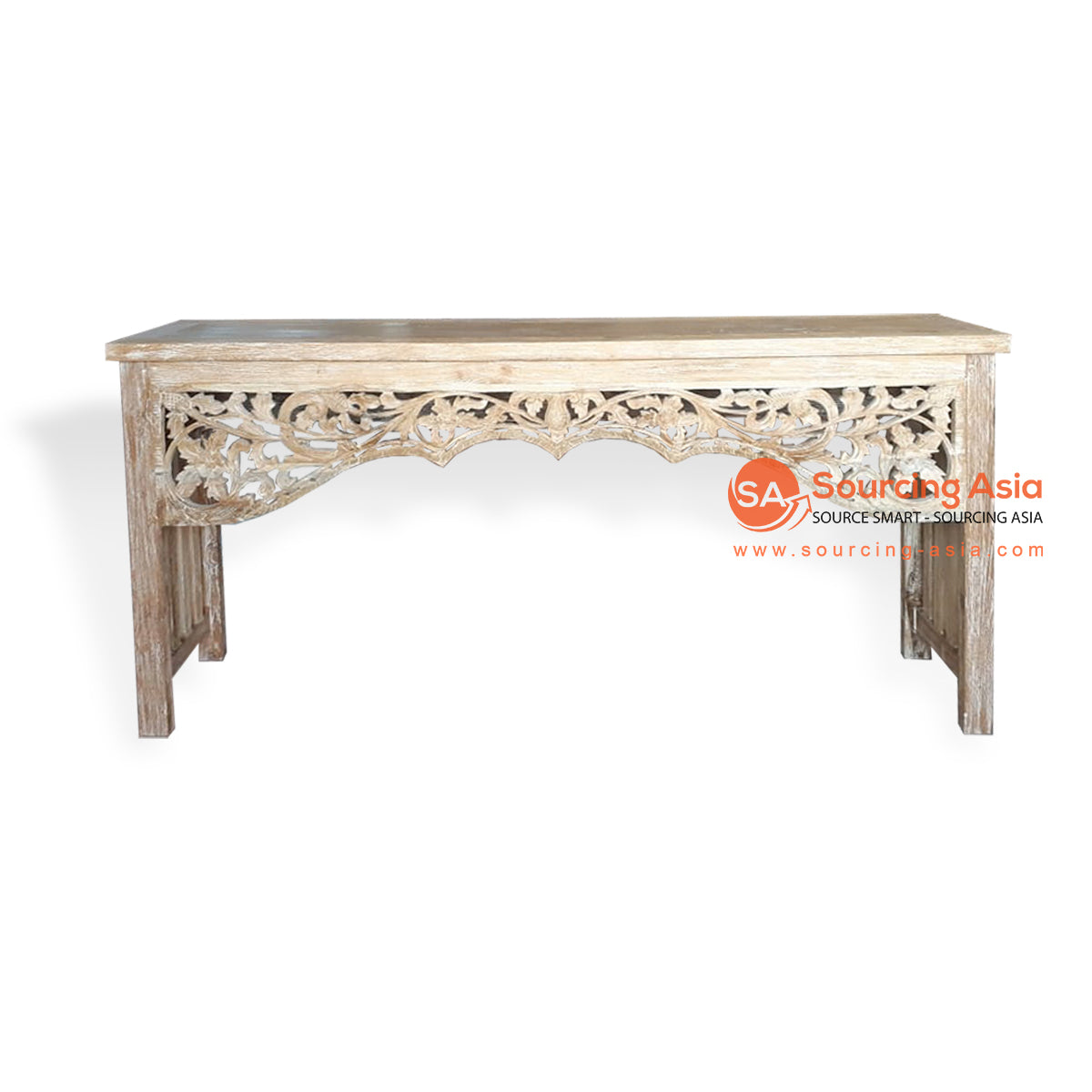 EVA071-1 CARVED RECYCLED WOOD CONSOLE