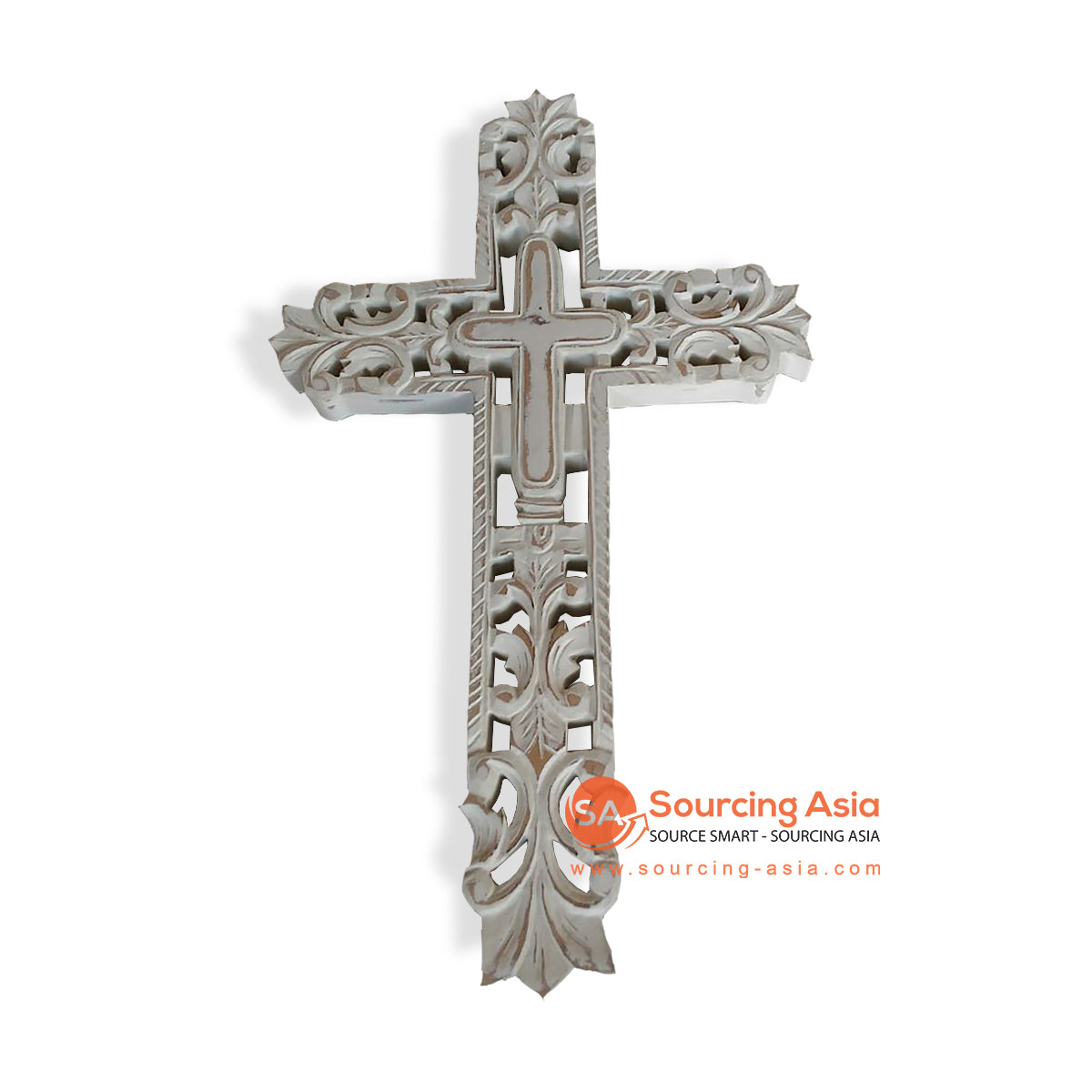 EXA116-50B WOODEN CROSS WITH CARVING