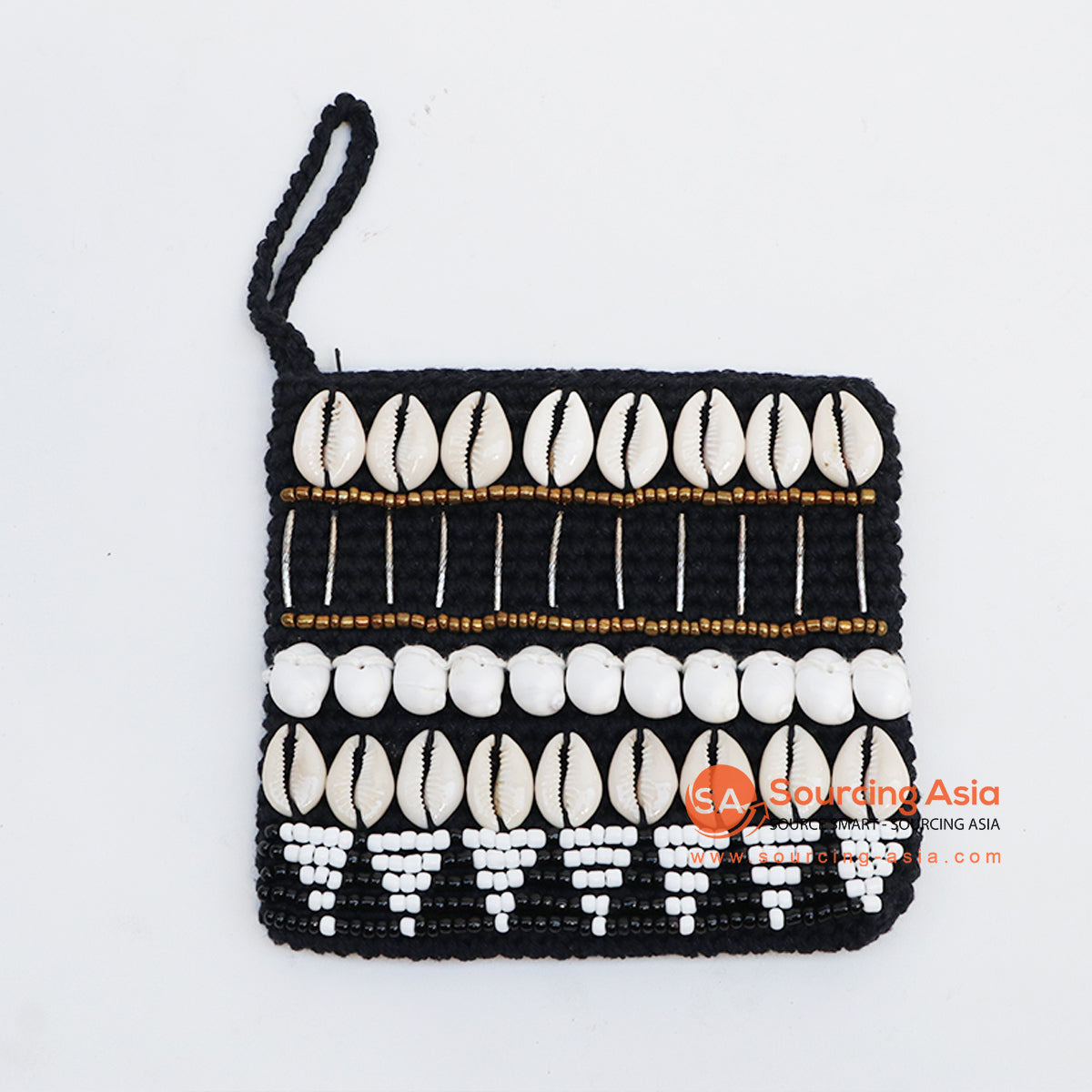 EXAC004-1 MACRAME PURSE WITH SHELLS AND BEADING