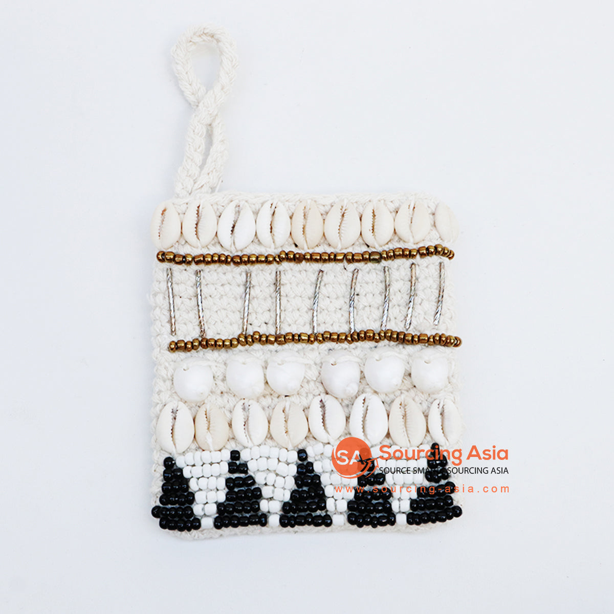 EXAC004-2 MACRAME PURSE WITH SHELLS AND BEADING
