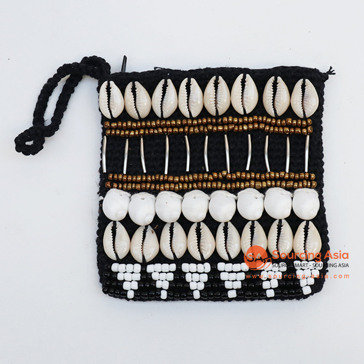 EXAC004-3 MACRAME PURSE WITH SHELLS AND BEADING