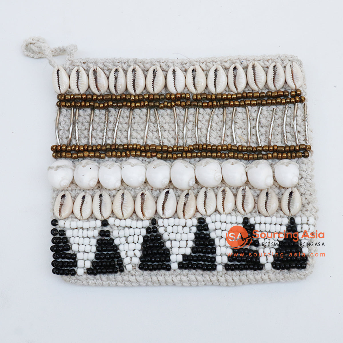 EXAC004-4 MACRAME PURSE WITH SHELLS AND BEADING