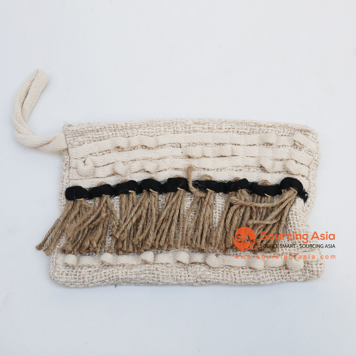 EXAC004-5 MACRAME PURSE WITH SHELLS AND BEADING