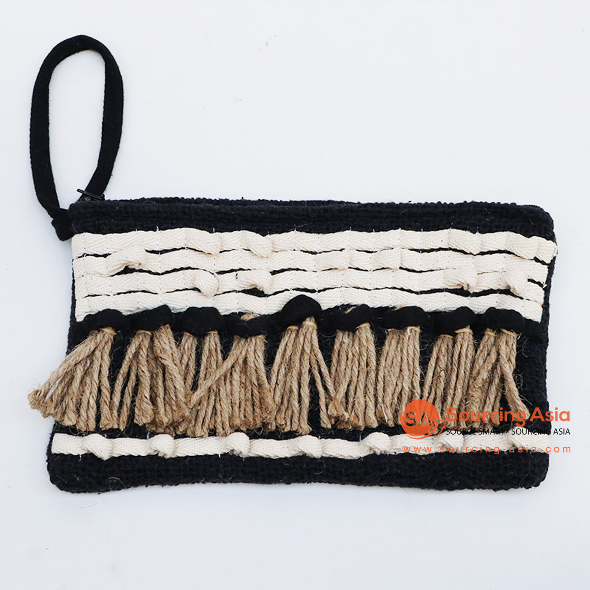 EXAC004-6 MACRAME PURSE WITH SHELLS AND BEADING