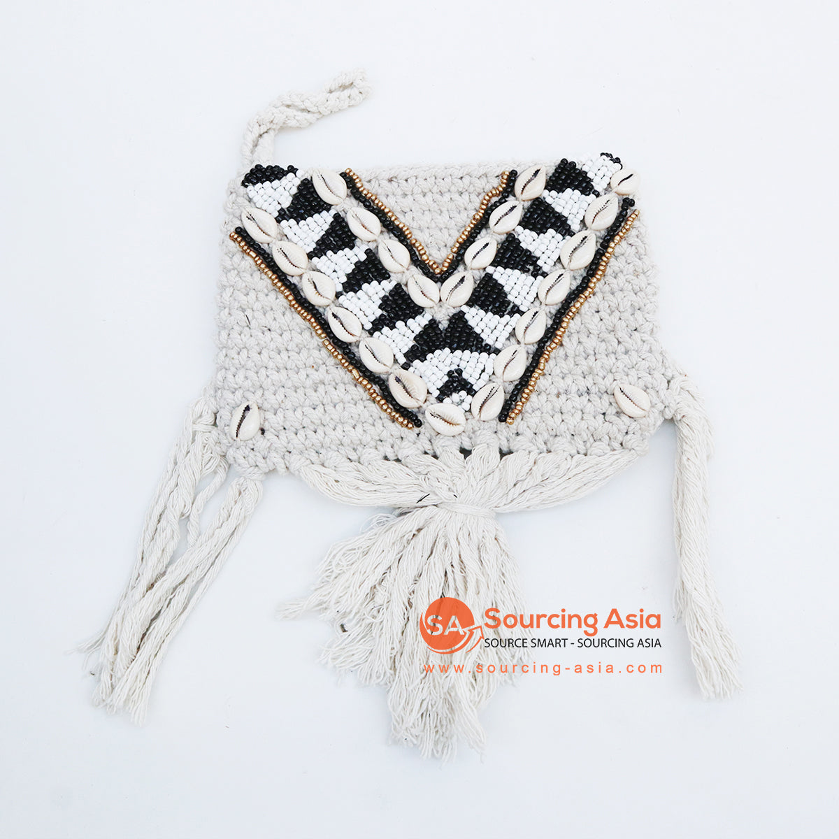 EXAC004-7 MACRAME PURSE WITH SHELLS AND BEADING
