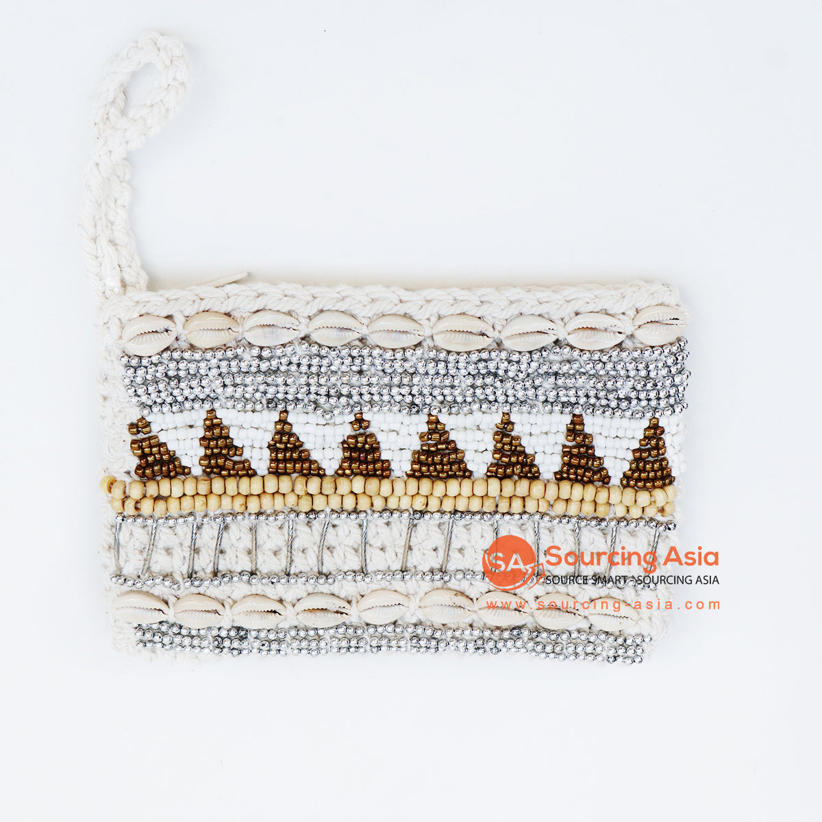EXAC004 MACRAME PURSE WITH SHELLS AND BEADING