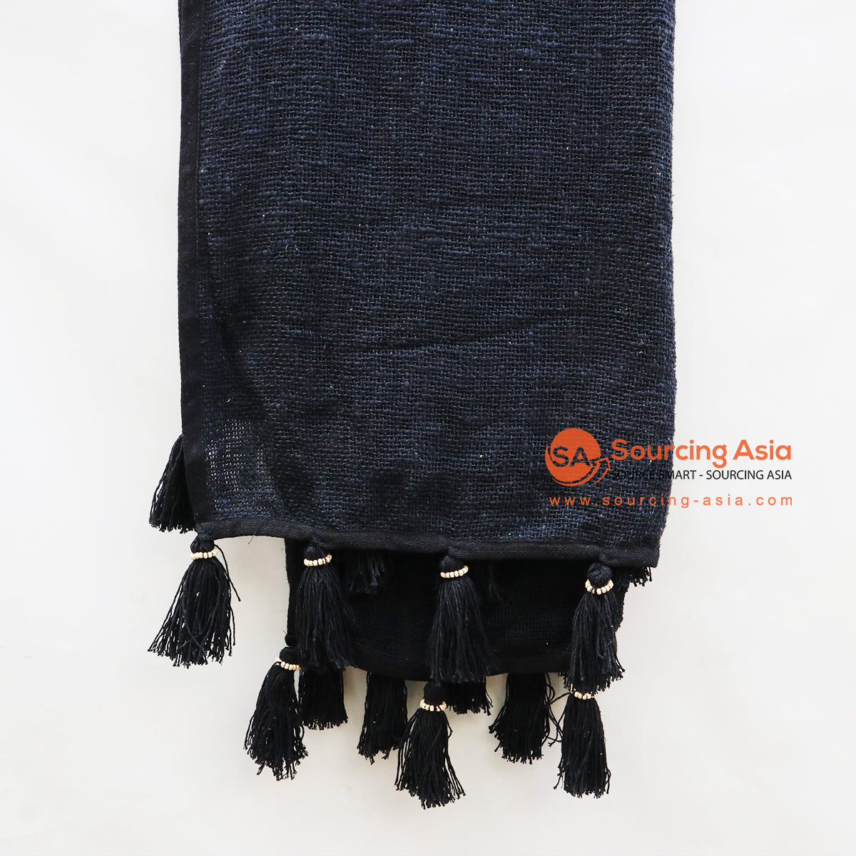 EXAC056-2 BLACK THROW RUG WITH TASSELS