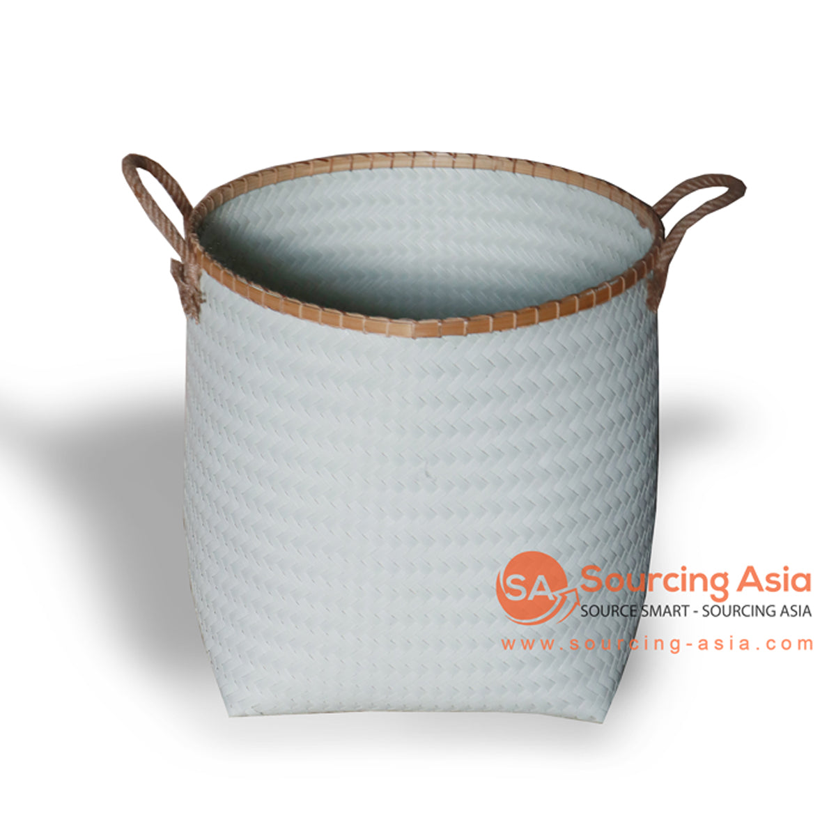 HBS197 SYNTHETIC RATTAN AND NATURAL FIBER LAUNDRY BASKET