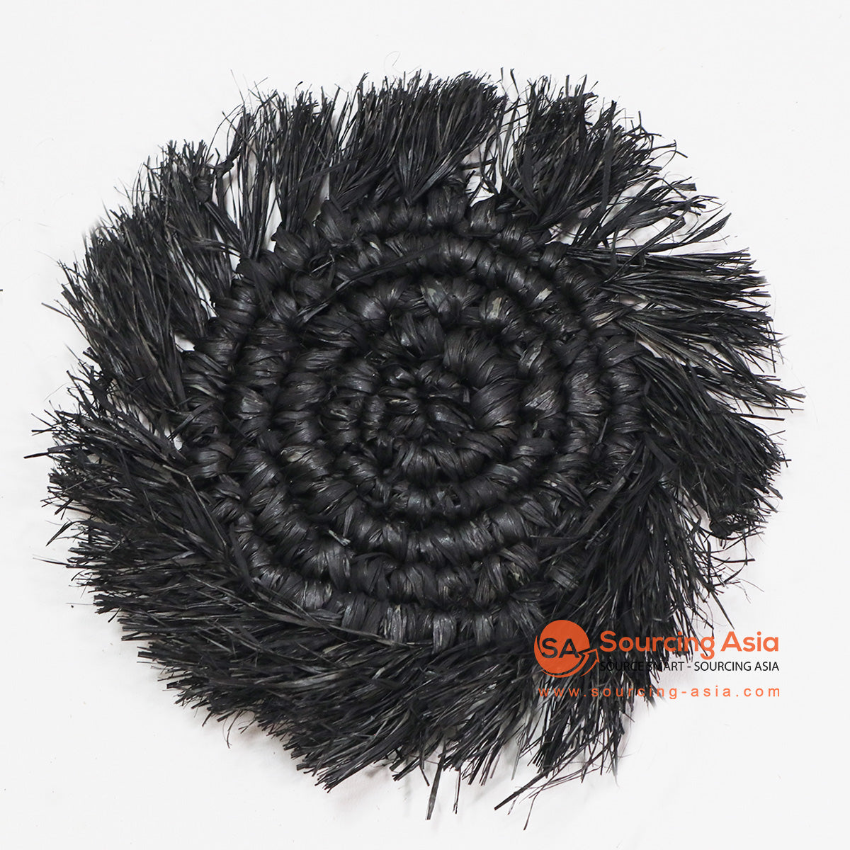 HBSC016-7BL BLACK RAFFIA WITH FRINGE COASTER