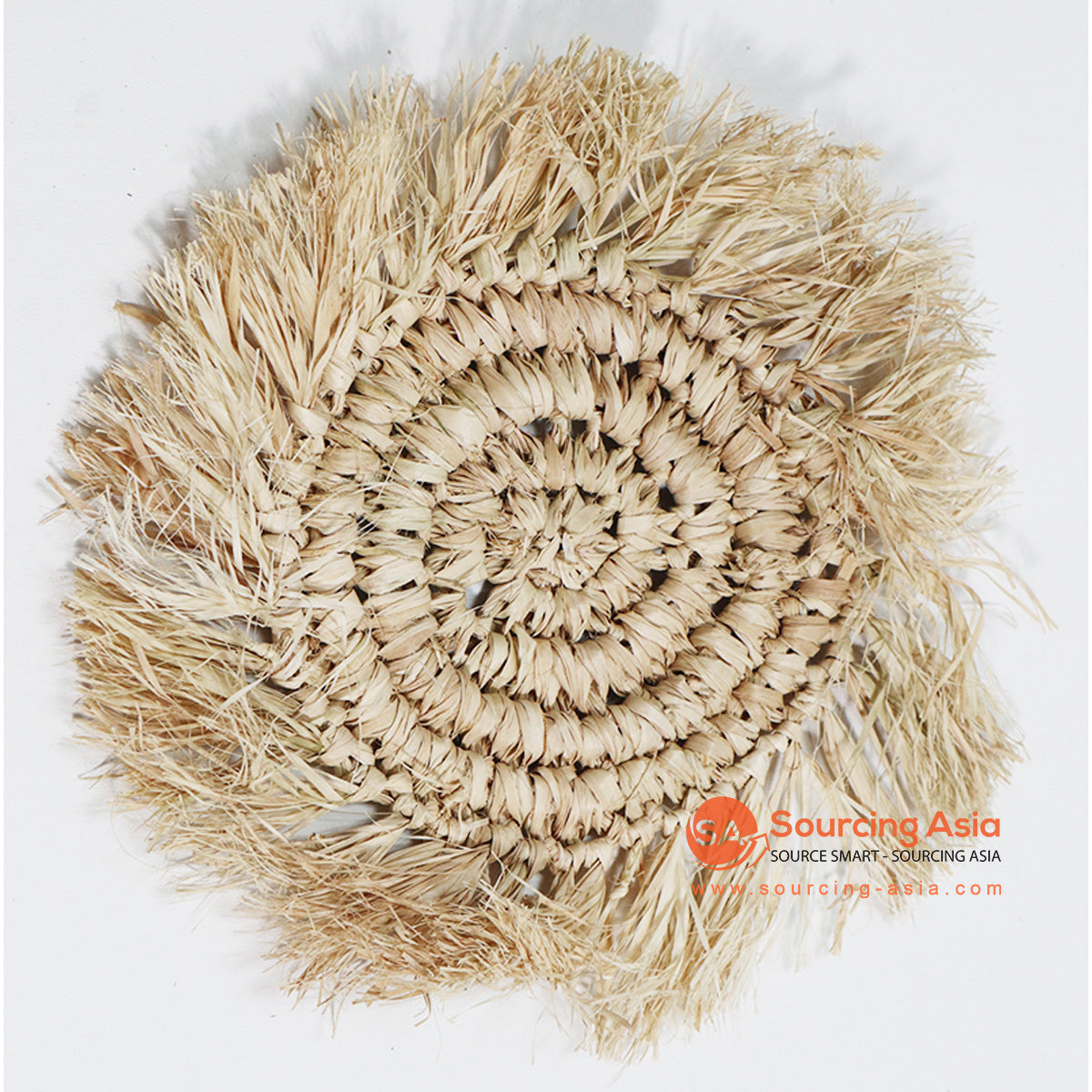HBSC016-7 NATURAL RAFFIA WITH FRINGE COASTER