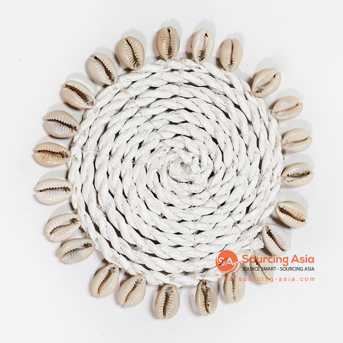 HBSC016-9 WHITE SEA GRASS COASTER WITH SHELLS