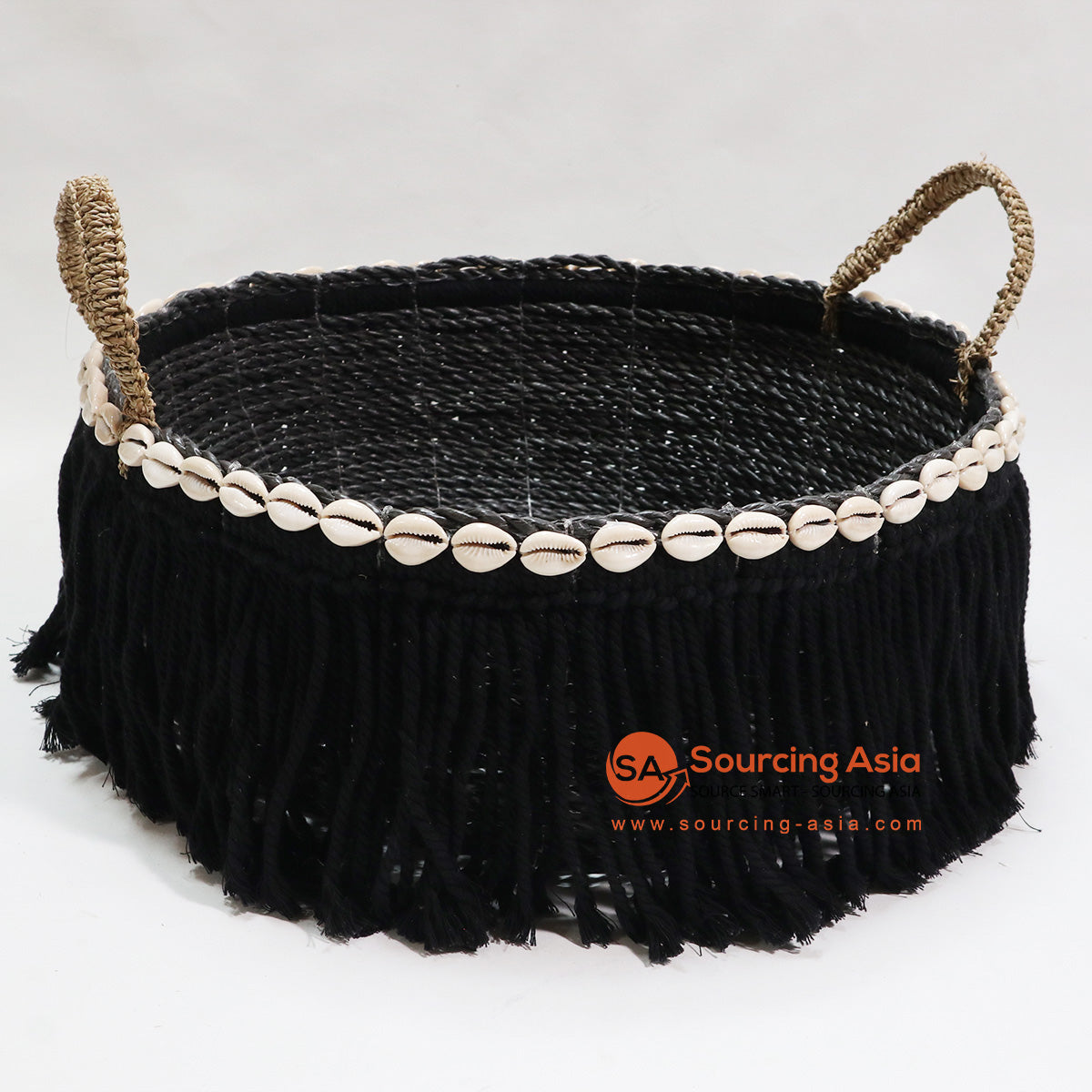 HBSC041 SEA GRASS BLACK TRINKET BASKET WITH SHELLS AND FRINGE