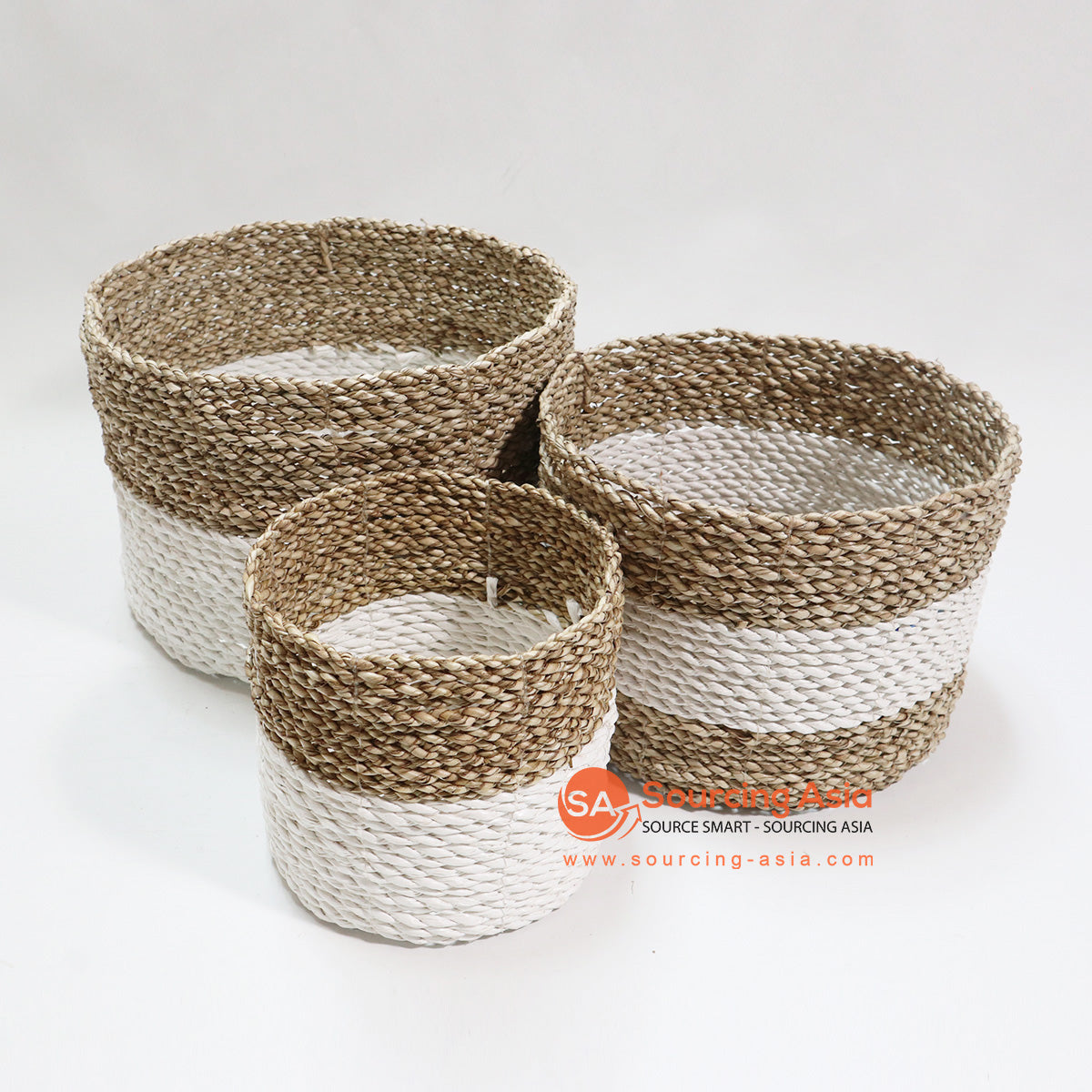 HBSC049-3 SET OF 3 MINI POT BASKETS NATURAL AND WHITE