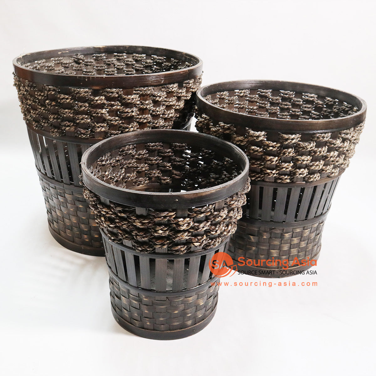 HBSC07-1 SET OF 3 BAMBOO AND SEA GRASS BASKETS