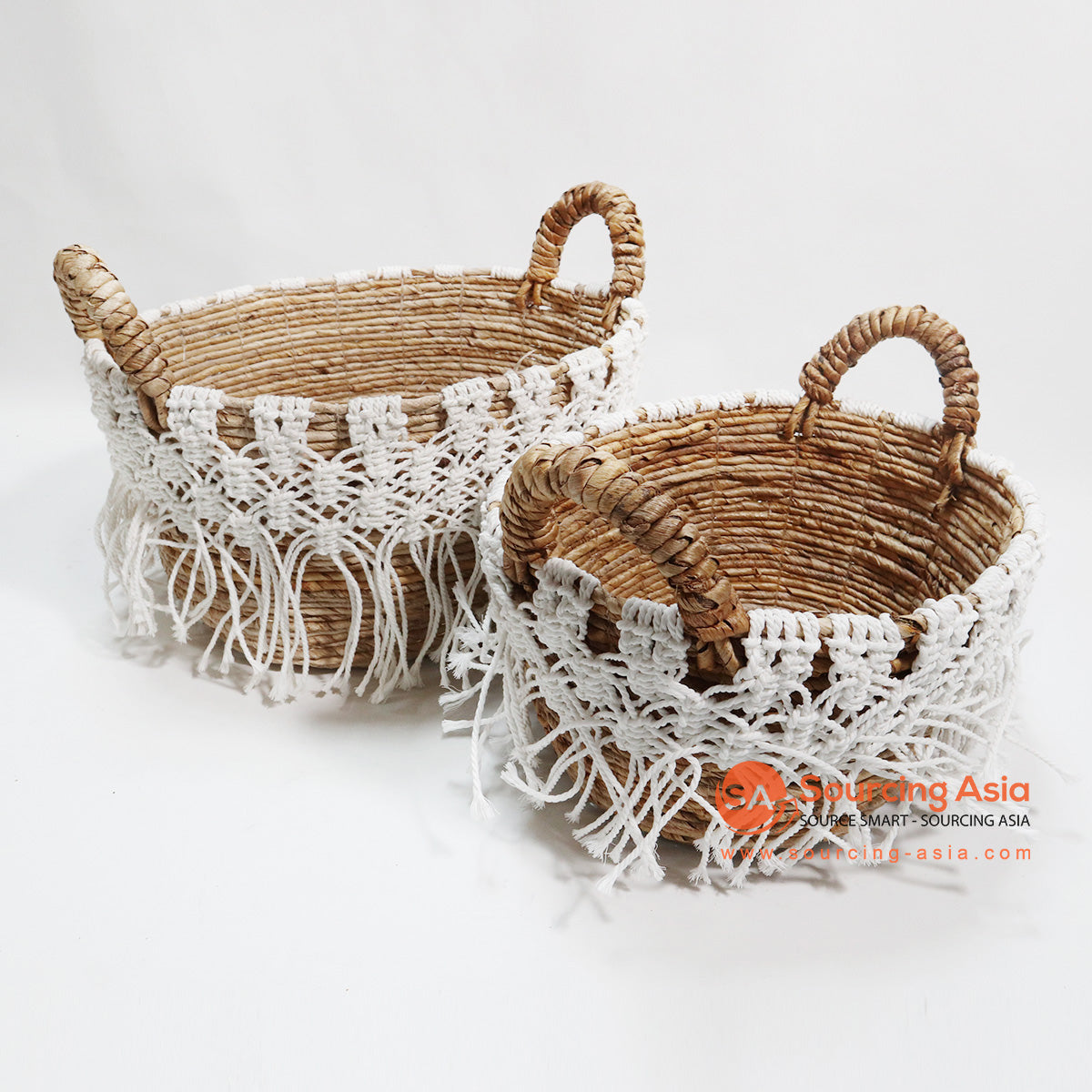 HBSC075 SET OF 2 MENDONG AND MACRAME BASKETS