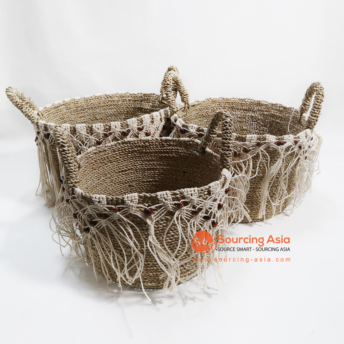 HBSC077 SET OF 3 AGEL AND MACRAME BEADED BASKETS