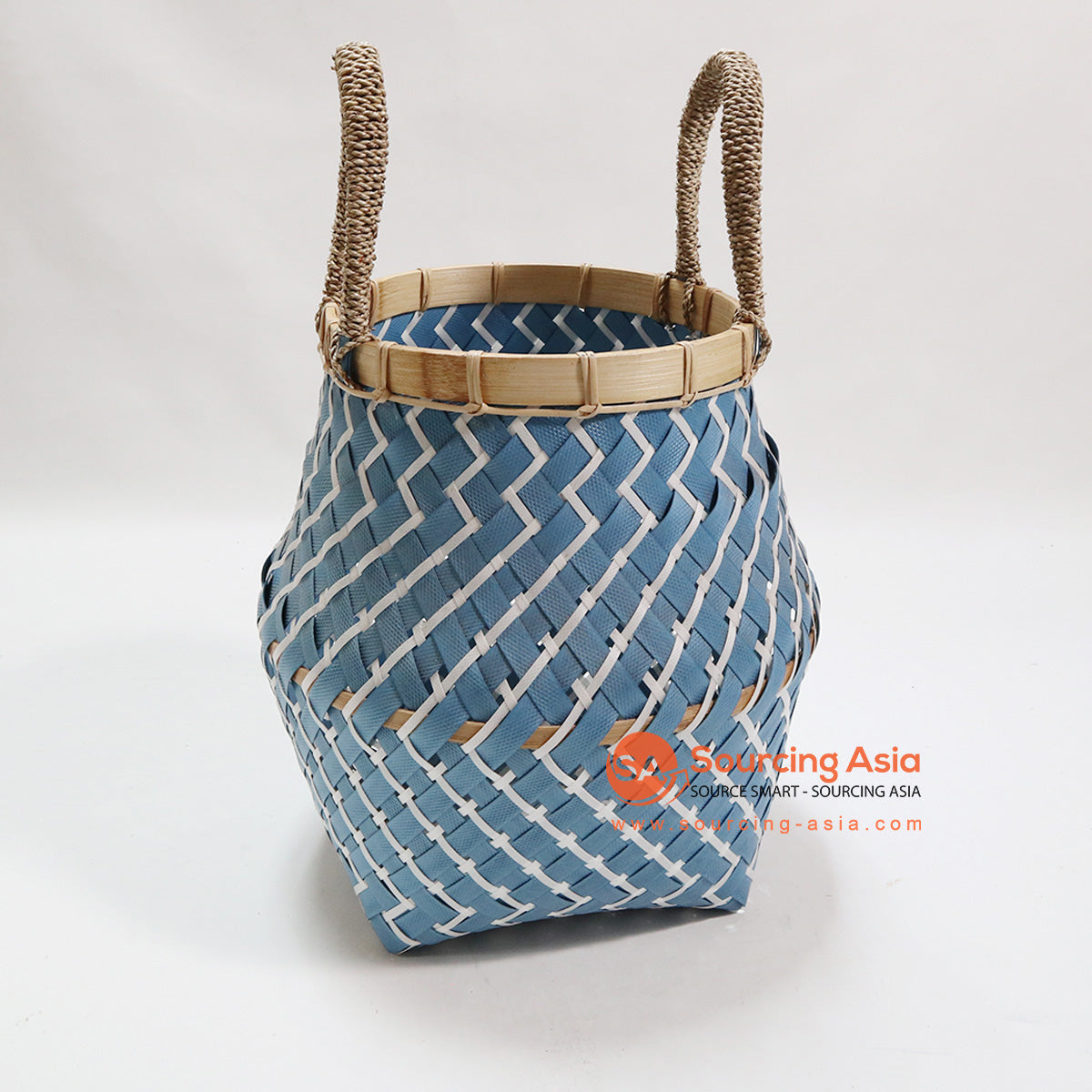 HBSC079 SYNTHETIC RATTAN BLUE AND WHITE BASKET