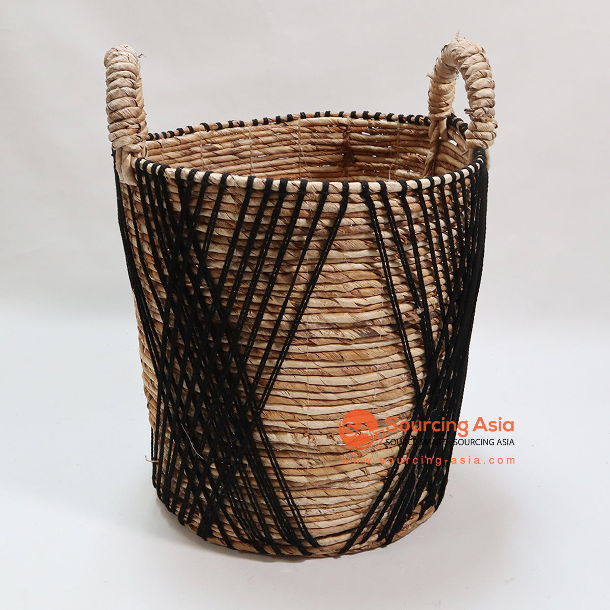 HBSC080 MENDONG BASKET WITH BLACK MACRAME