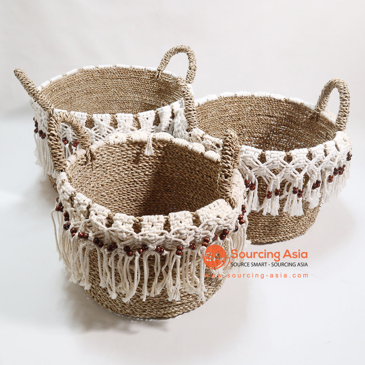 HBSC084 SET OF 3 SEA GRASS AND BEADED MACRAME BASKETS