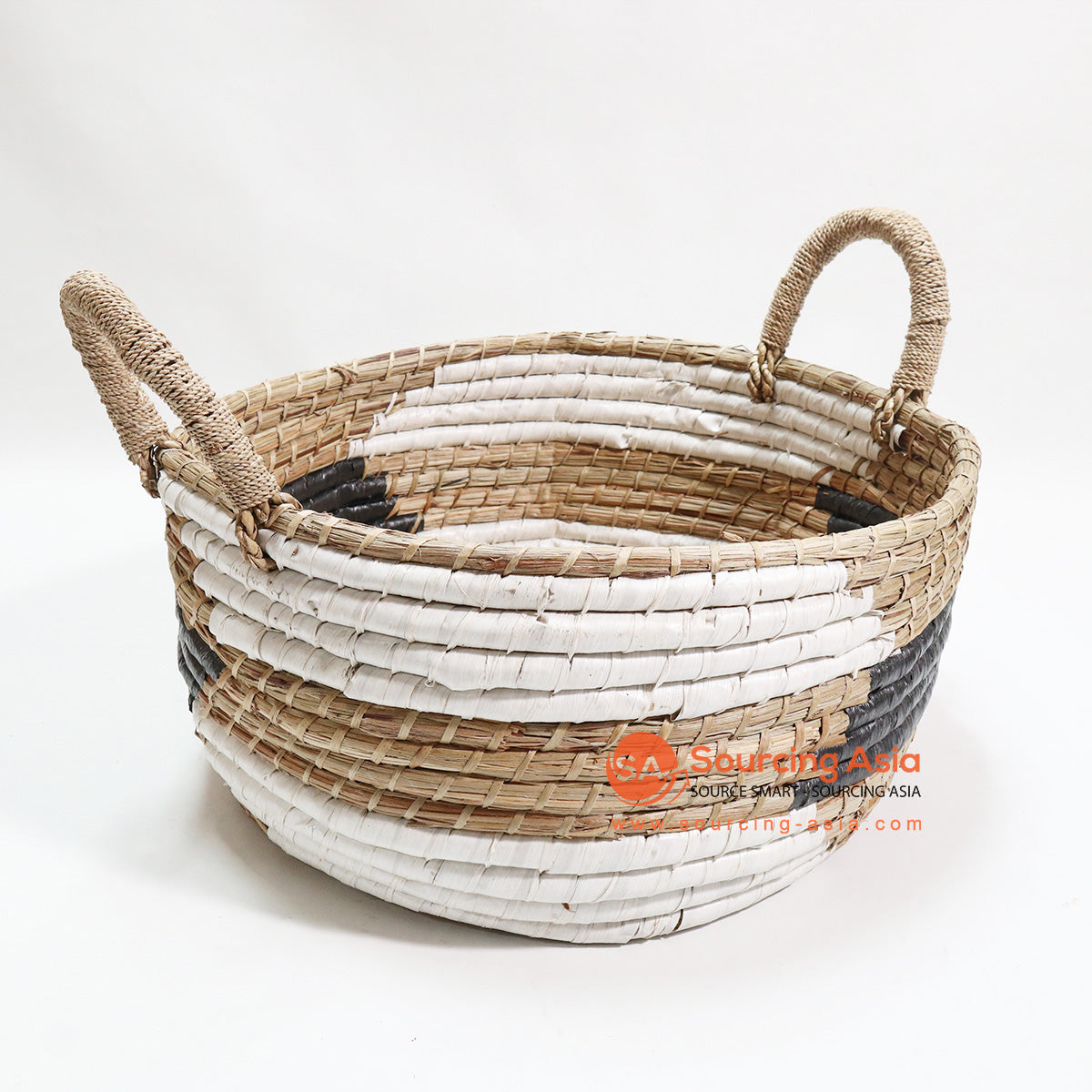 HBSC089 LARGE OPEN BASKET NATURAL WHITE AND GREY