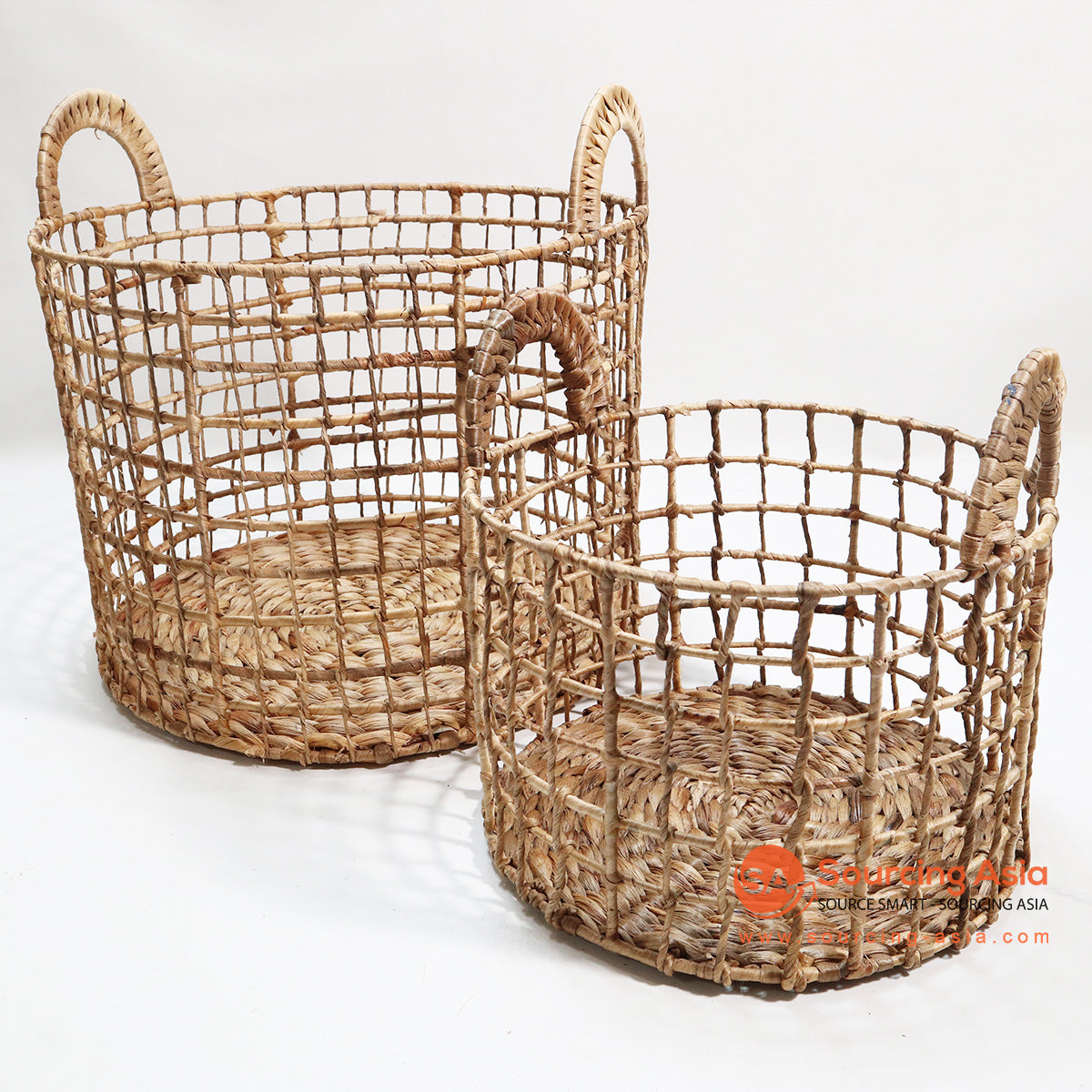 HBSC094 SET OF 2 SQUARE WIRE WATER HYACINTH BASKETS NATURAL