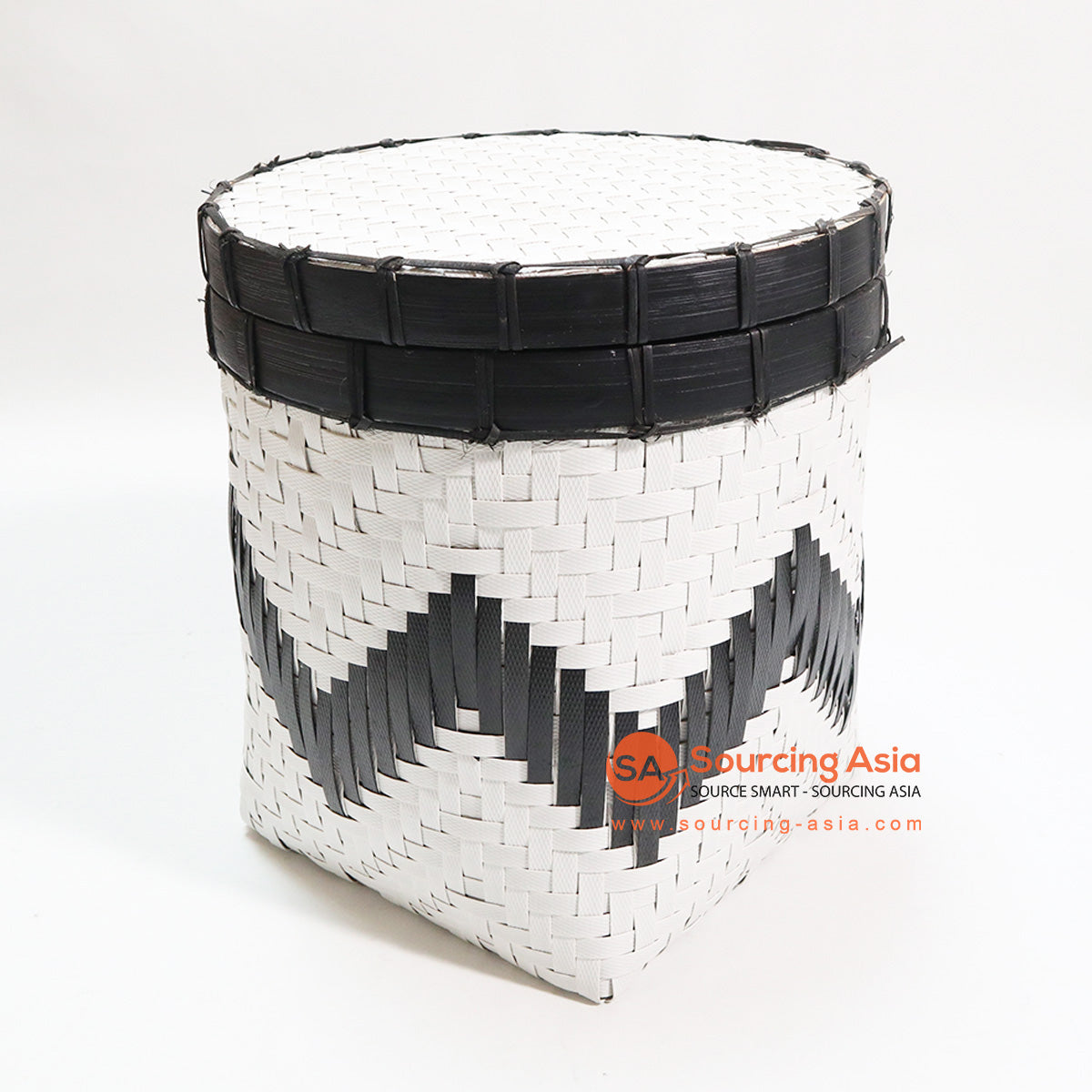 HBSC100 BLACK AND WHITE BAMBOO BASKET