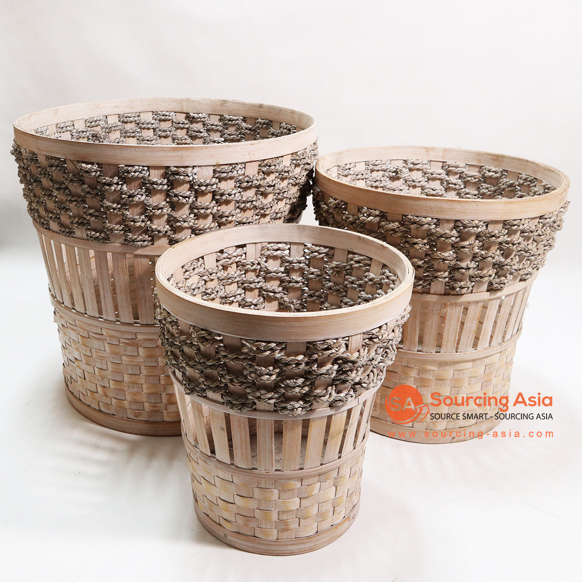 HBSC107 SET OF 3 BAMBOO AND SEA GRASS BASKETS