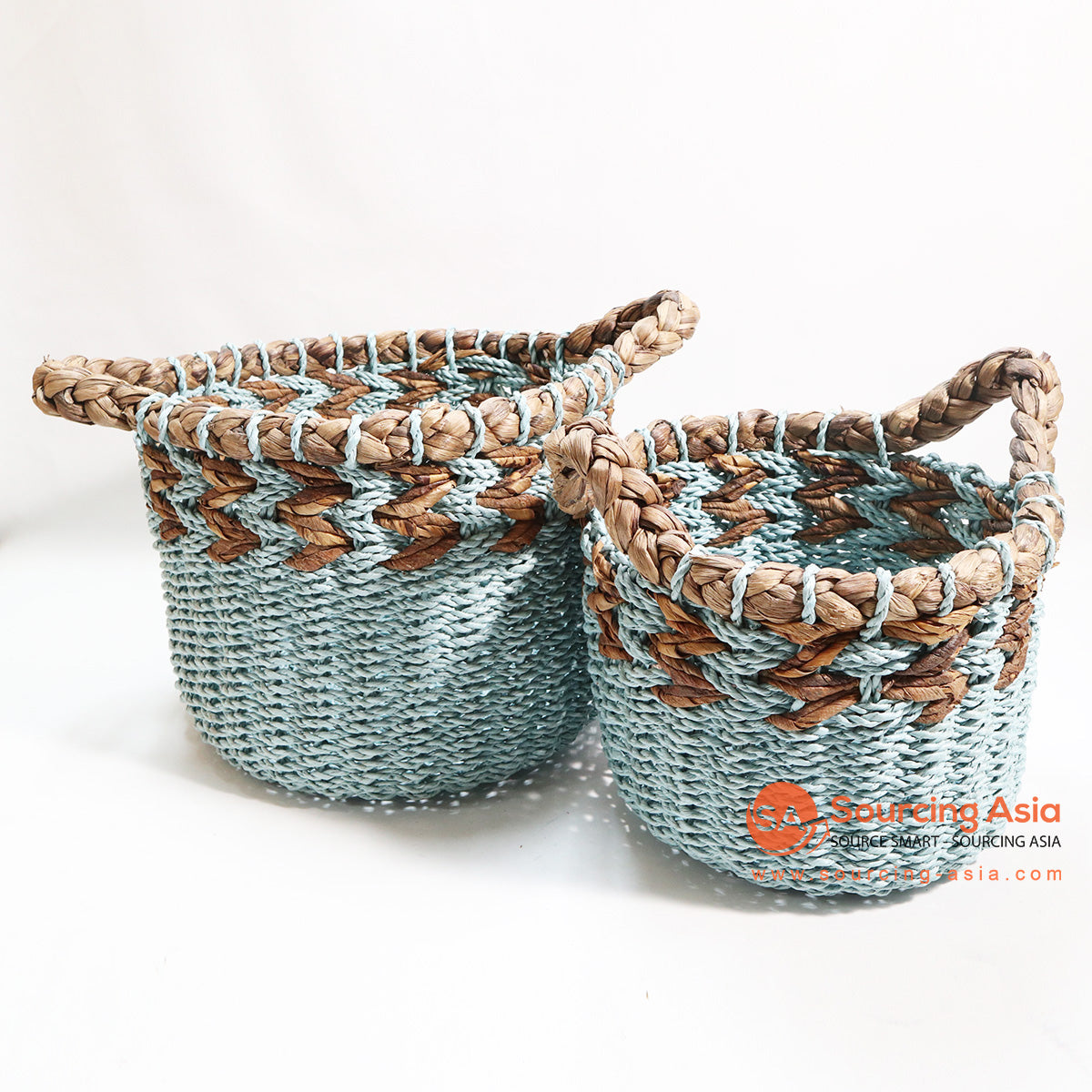 HBSC115-1 SET OF 2 BLUE SEA GRASS AND WATER HYACINTH BASKETS