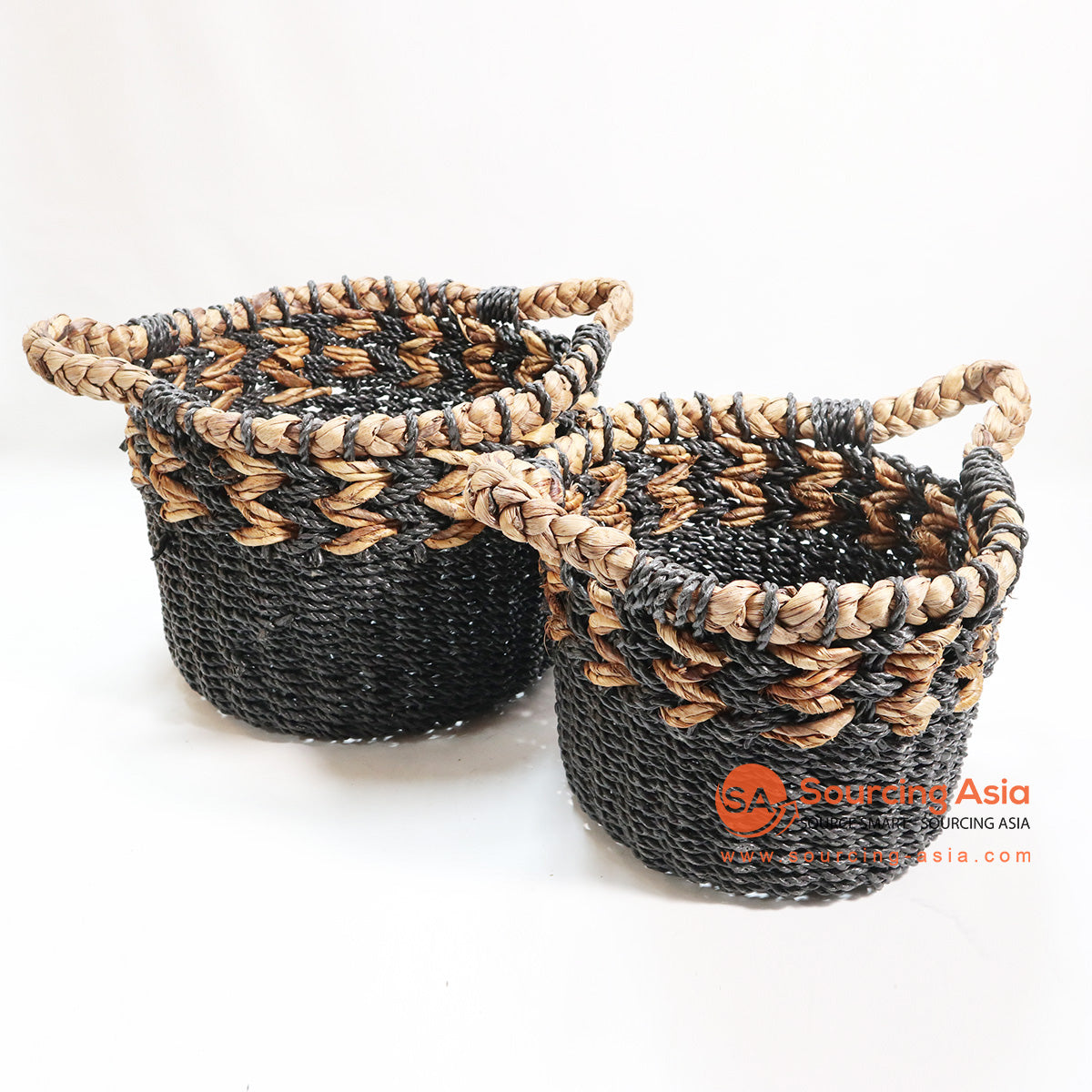 HBSC115-2 SET OF 2 BLACK SEA GRASS AND WATER HYACINTH BASKETS