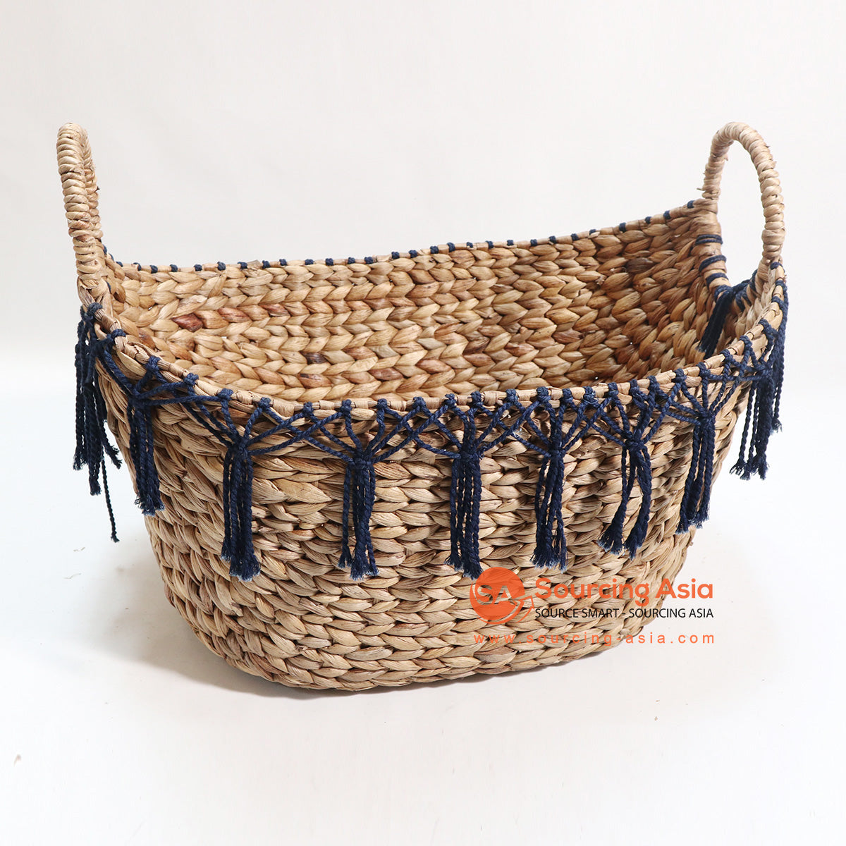HBSC118 WATER HYACINTH AND MACRAME BASKET