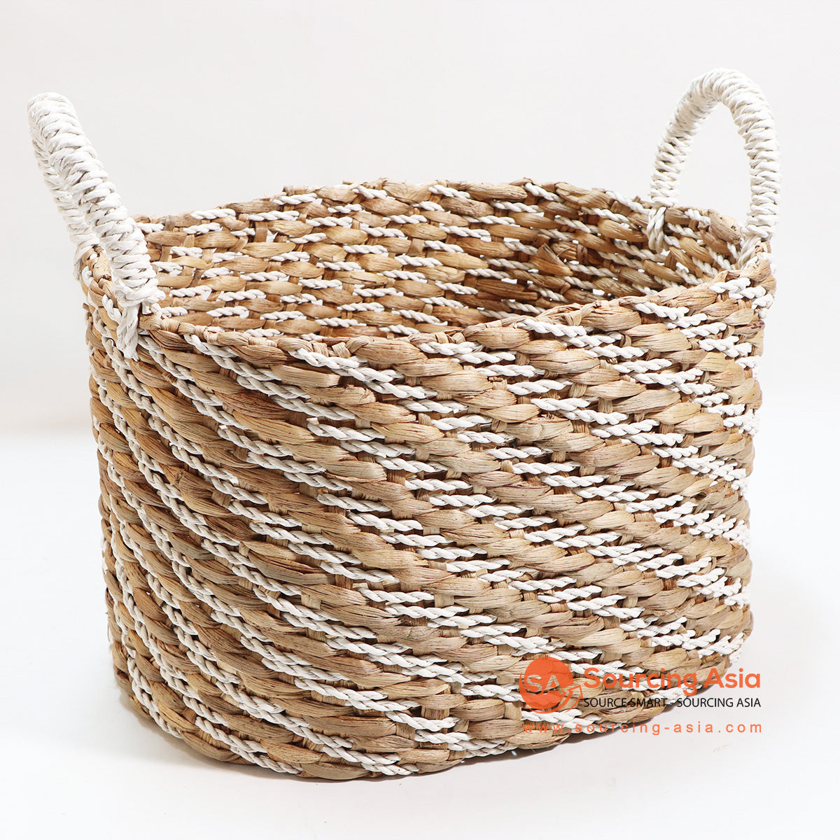 HBSC127-1 WATER HYACINTH AND RAFFIA BASKET NATURAL & WHITE
