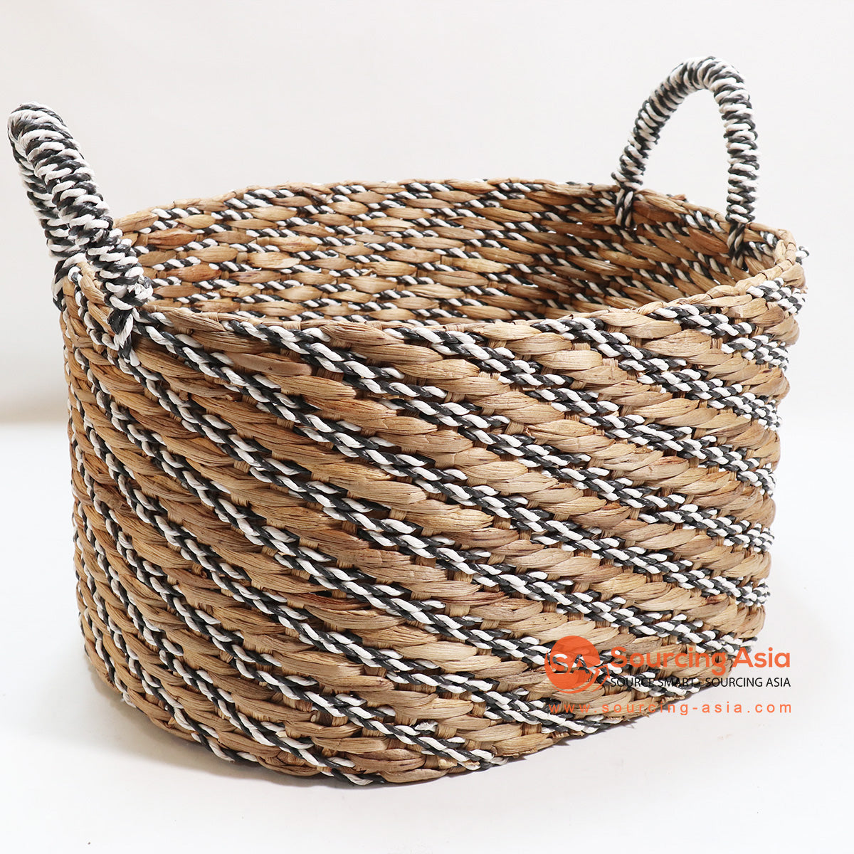 HBSC127-2 WATER HYACINTH AND BLACK AND WHITE RAFFIA BASKET