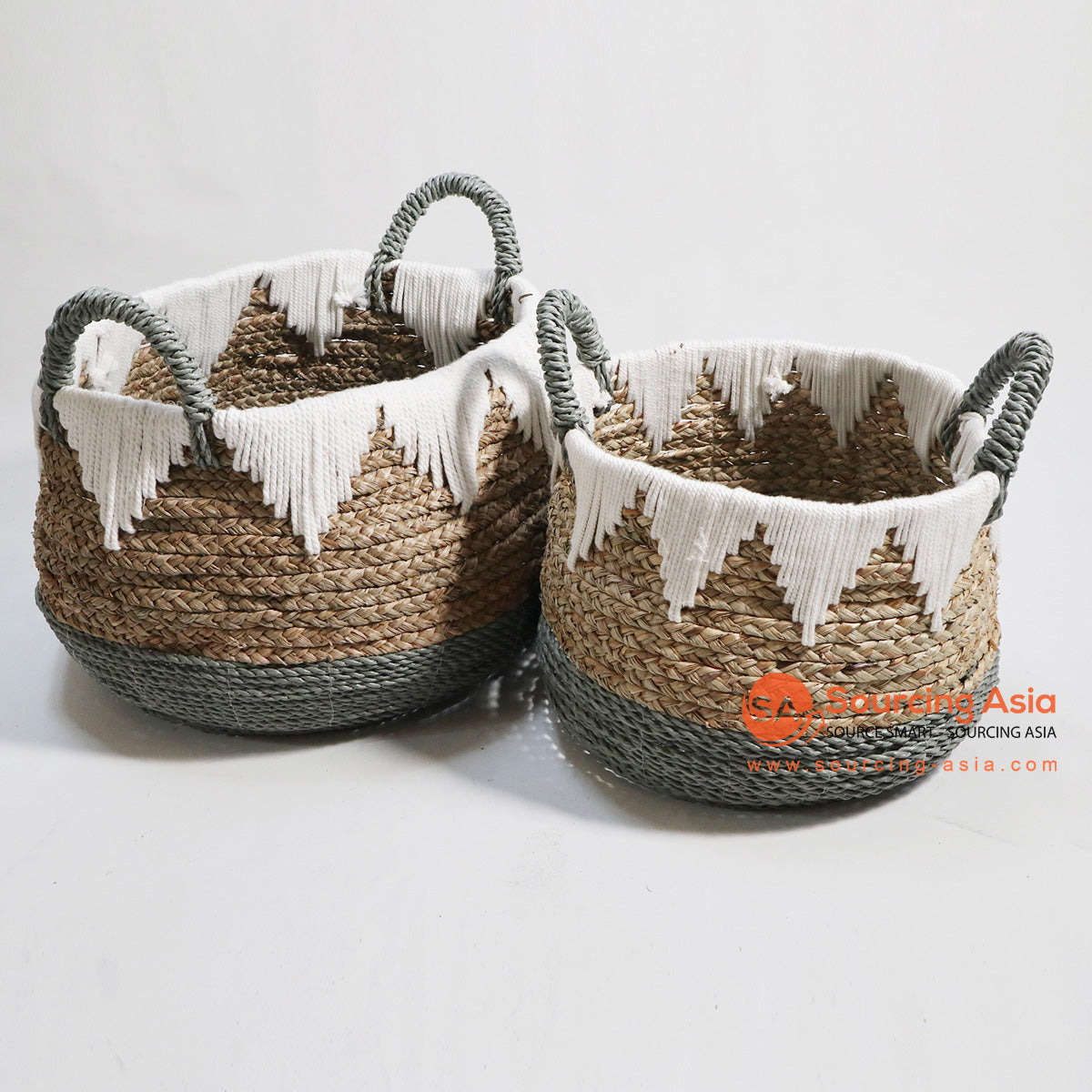 HBSC133 SET OF 2 MENDONG AND SEA GRASS BASKETS WITH MACRAME