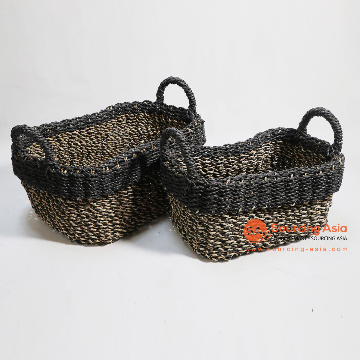 HBSC134 SET OF 2 SEA GRASS NATURAL AND BLACK BASKETS