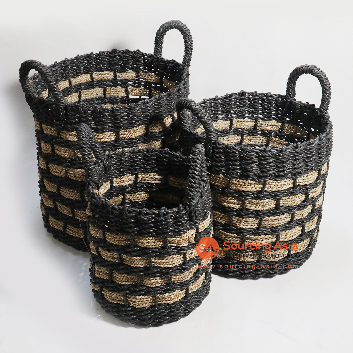 HBSC138 SET OF 3 SEA GRASS BASKETS BLACK AND NATURAL