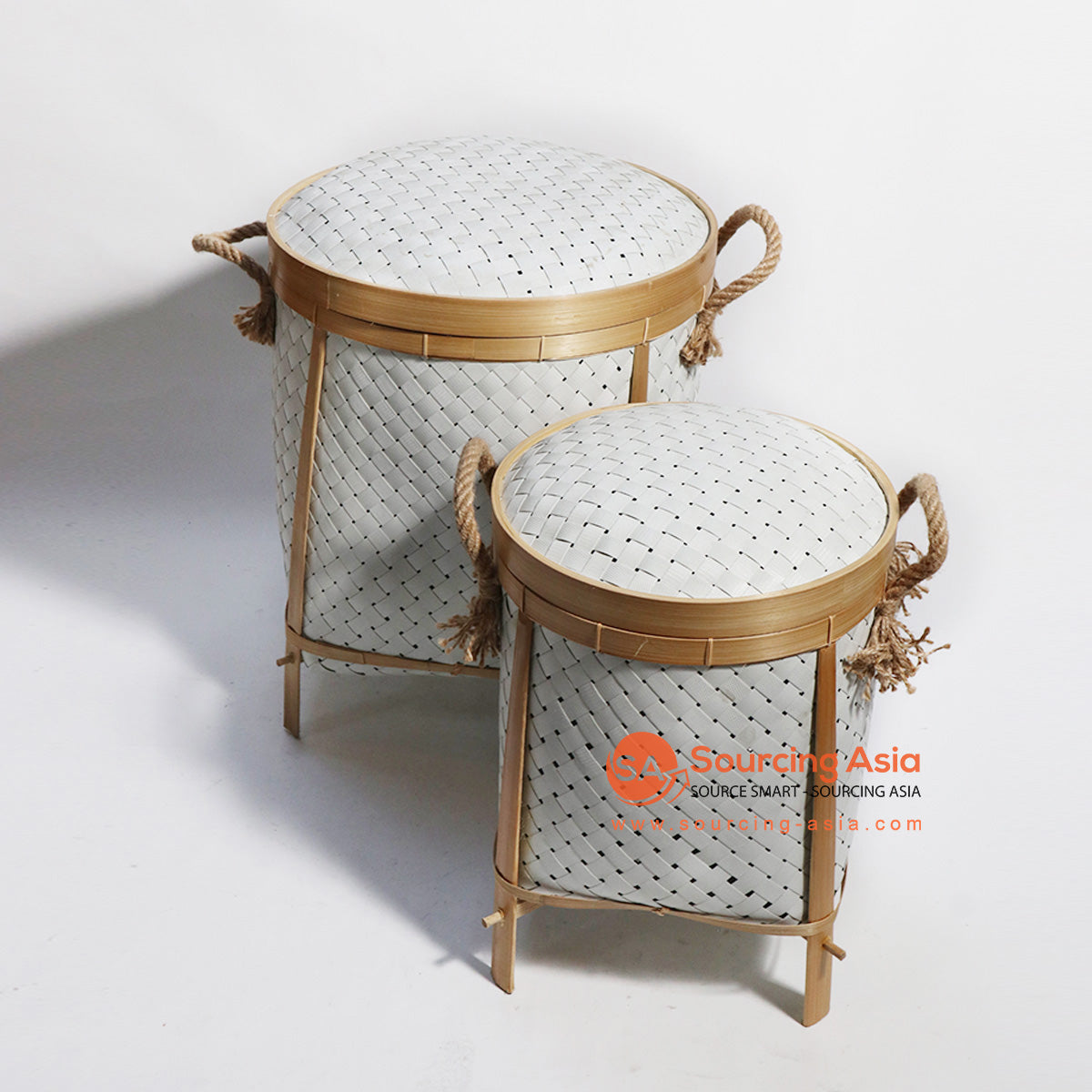 HBSC186 SET OF 2 SYNTHETIC RATTAN AND BAMBOO BASKET