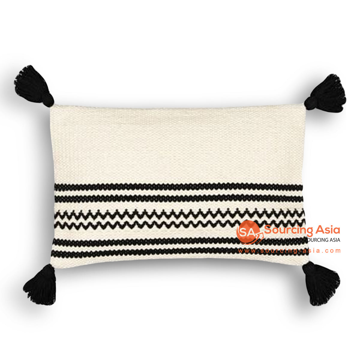 HIP004 LUMBAR COVER PILLOW WITH EMBROIDERY AND TASSELS 50 X 25 CM