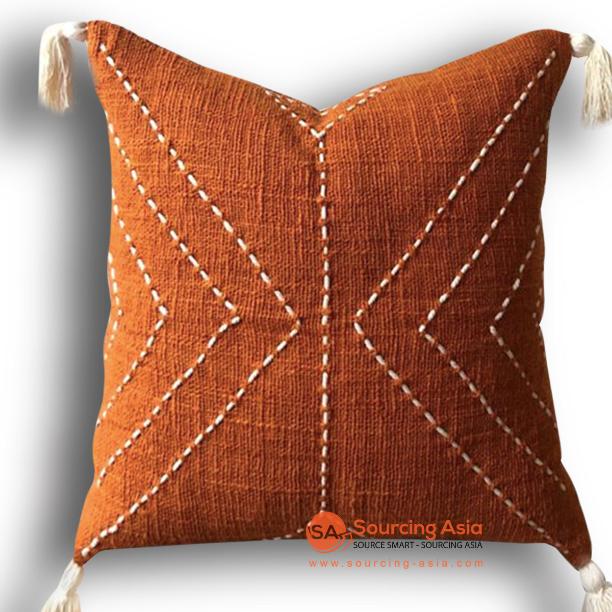 HIP019 HAND STITCHED COVER PILLOW WITH EMBROIDERY AND TASSELS 50 X 50 CM