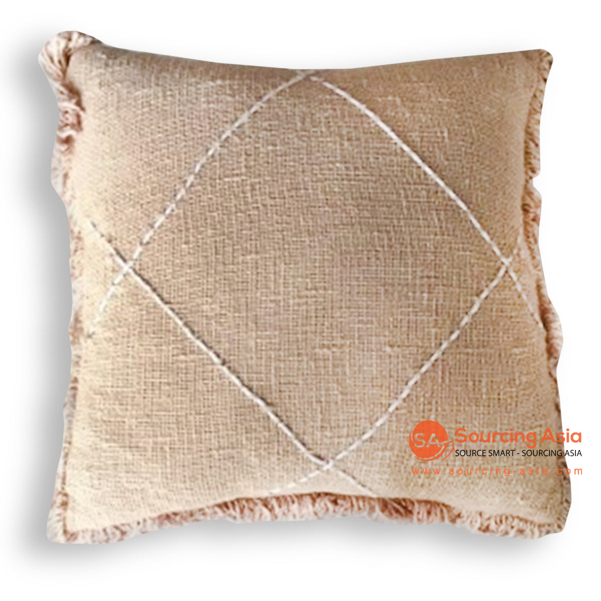 HIP025 HAND STITCHED COVER PILLOW WITH FRINGE 50 X 50 CM