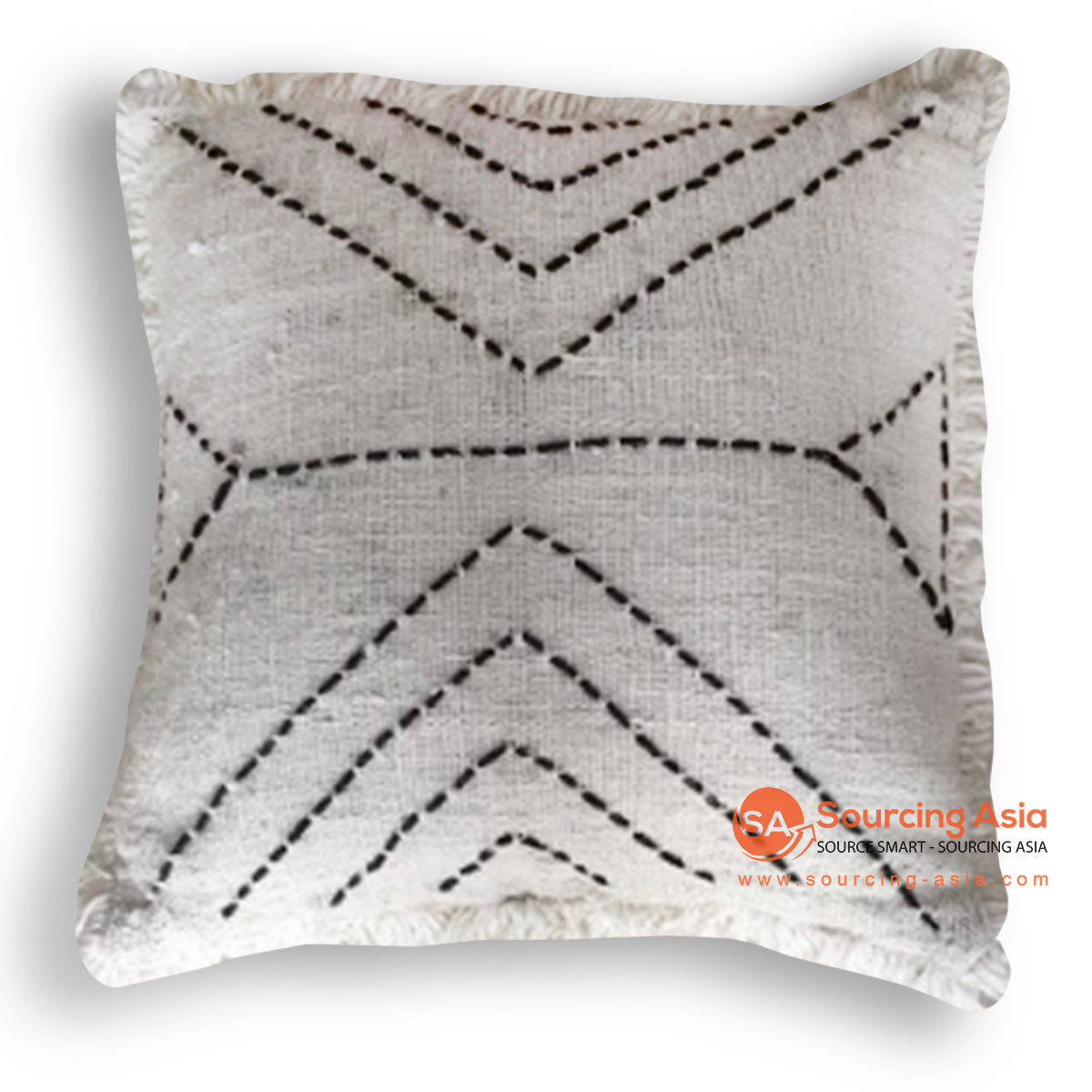 HIP026 HAND STITCHED COVER PILLOW WITH FRINGE 50 X 50 CM