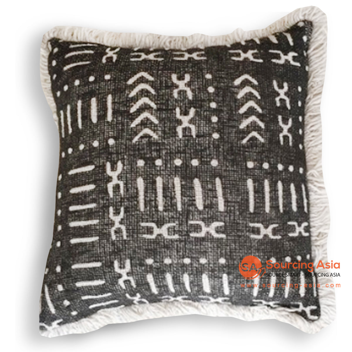 HIP027 SCREEN PRINTED CUSHION WITH FRINGE 50 X 50 CM